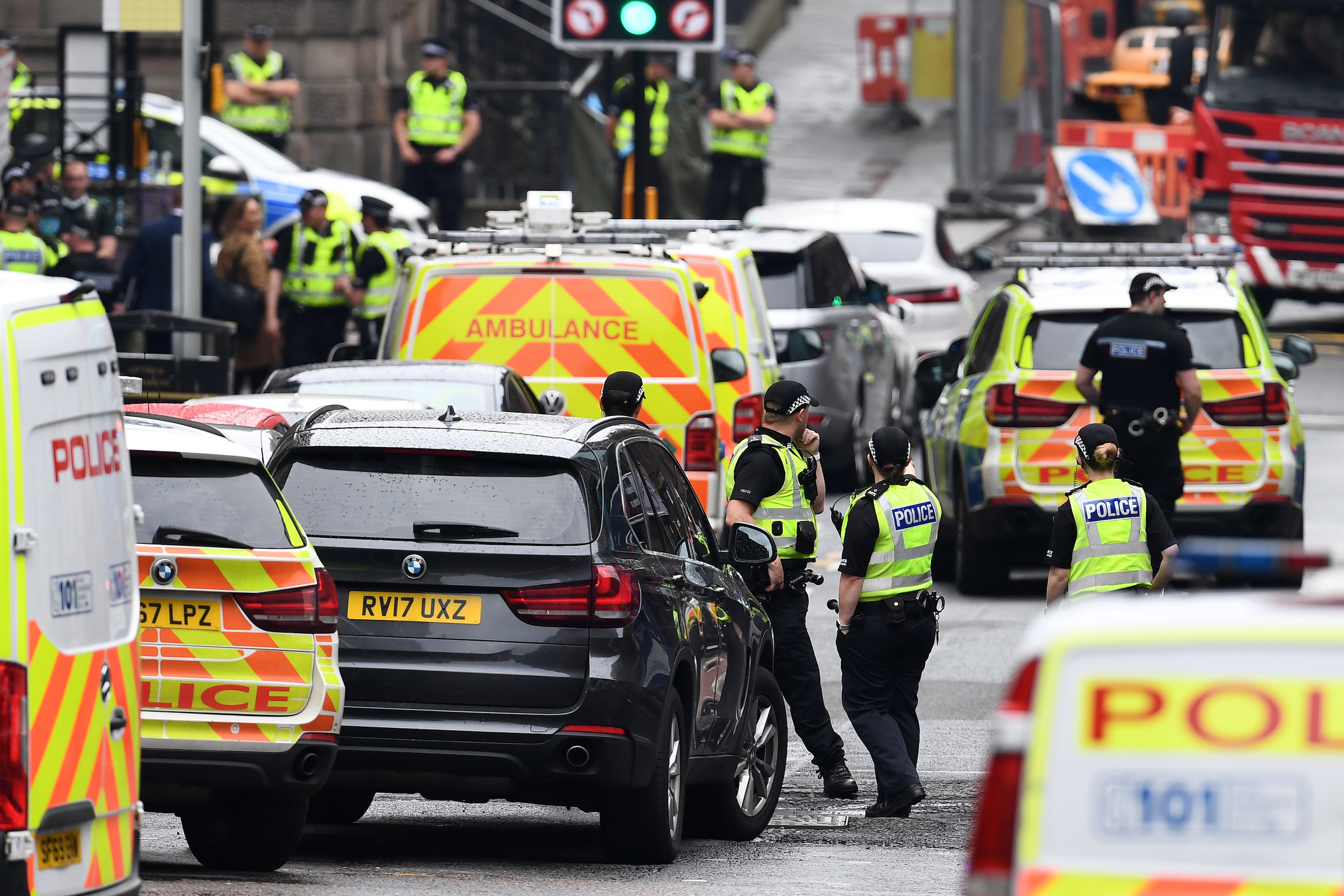 Emergency services at the scene after reports of three people being killed in a central Glasgow hotel on June 26, 2020 in Glasgow, Scotland.