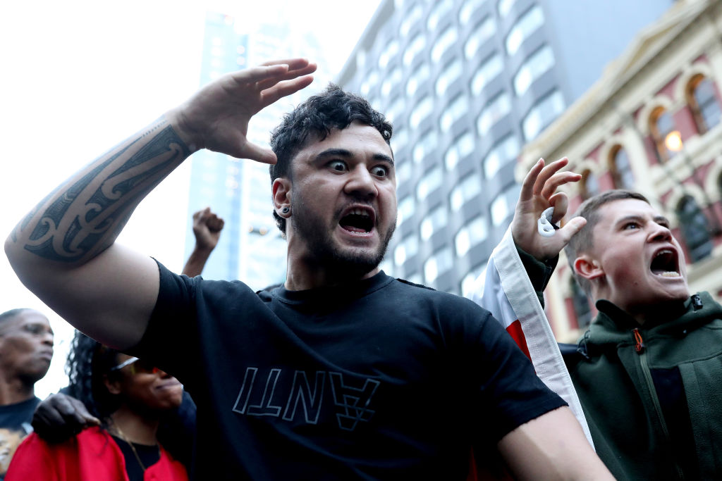 Protestors perform a Haka on June 01, 2020 in Auckland, New Zealand.
