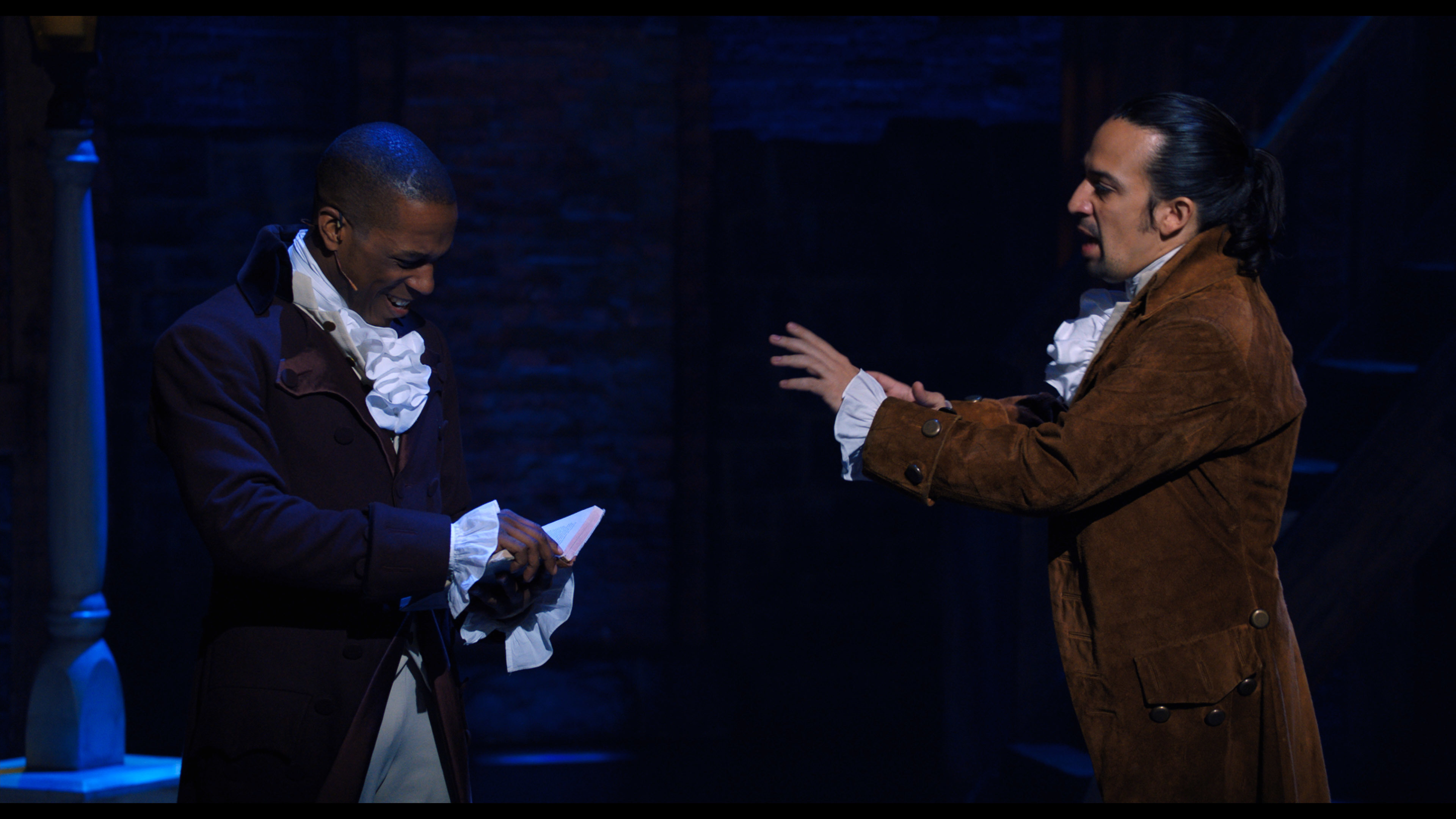 Leslie Odom Jr. and Lin-Manuel Miranda in the Disney+ filmed version of 'Hamilton'