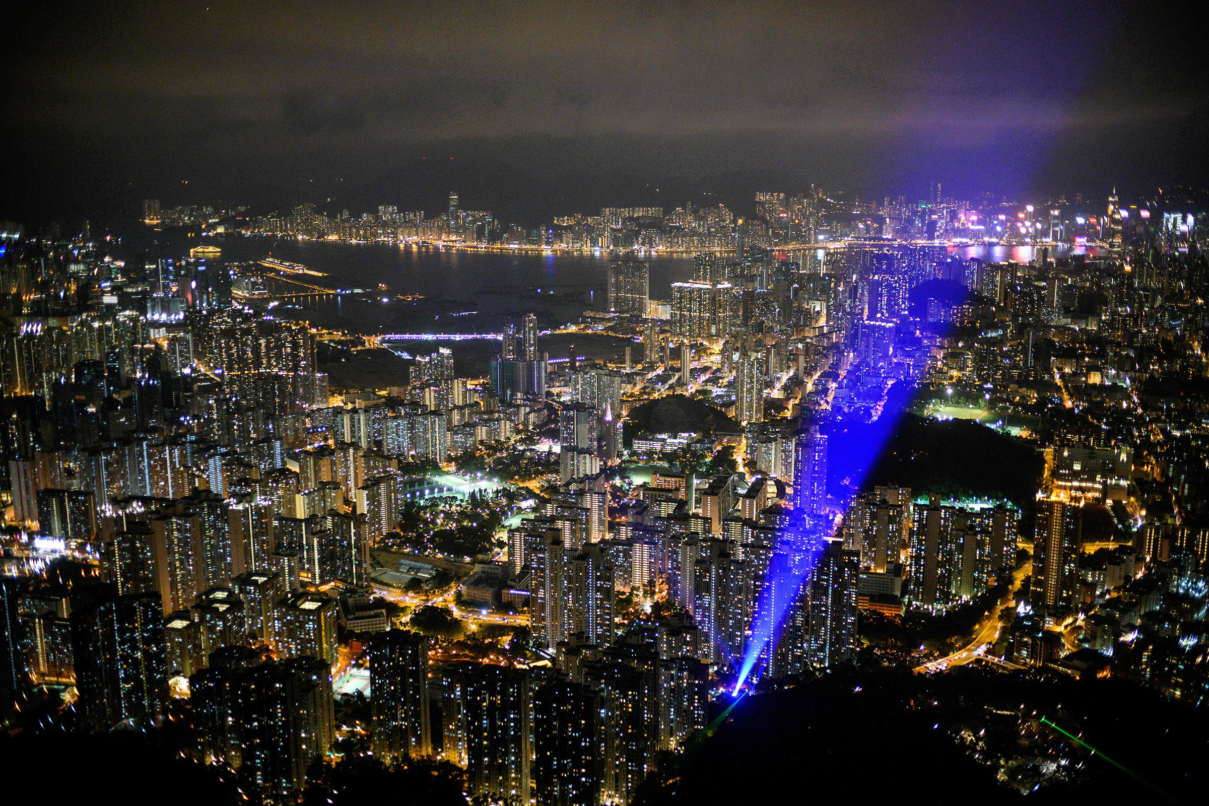 The Kowloon district of Hong Kong, seen from                 Lion Rock during a pro-democracy gathering in September