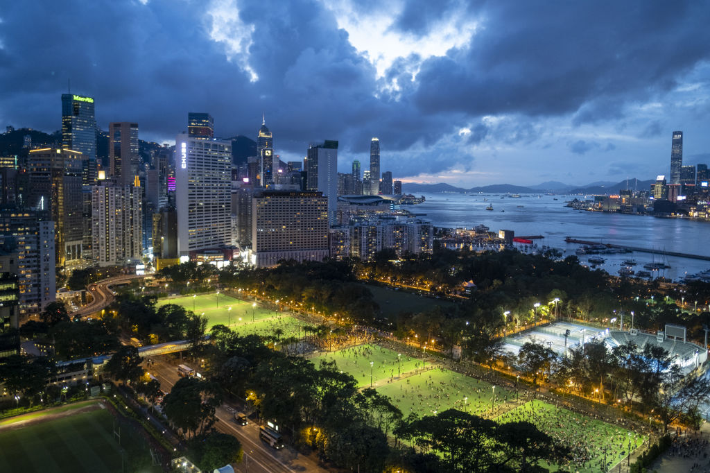 People gather at Victoria Park to commemorate the 31st anniversary of the Tiananmen Square crackdown in Hong Kong, China, on June 4, 2020.