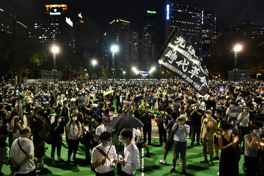 Activists hold a candlelit vigil in Victoria Park in Hong Kong on June 4, 2020.