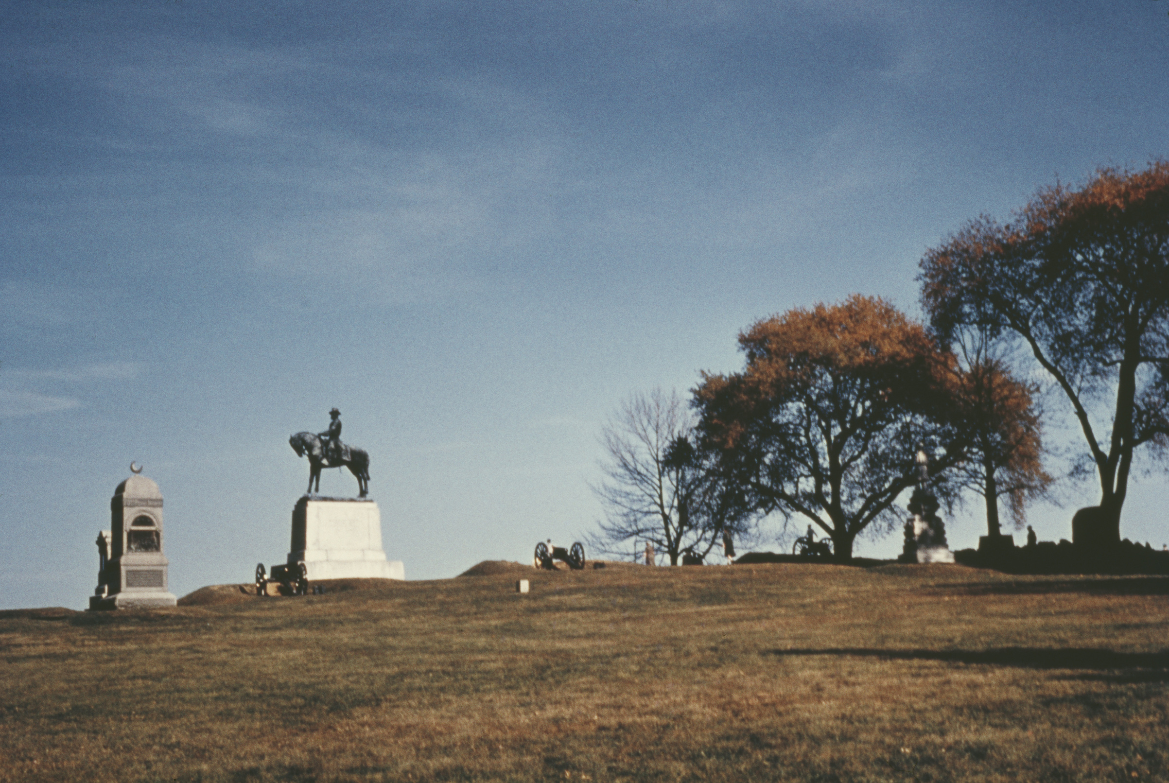 A statue of Major-General Oliver Otis Howard on East Cemetery Hill, Gettysburg, Pa., photographed circa 1960.