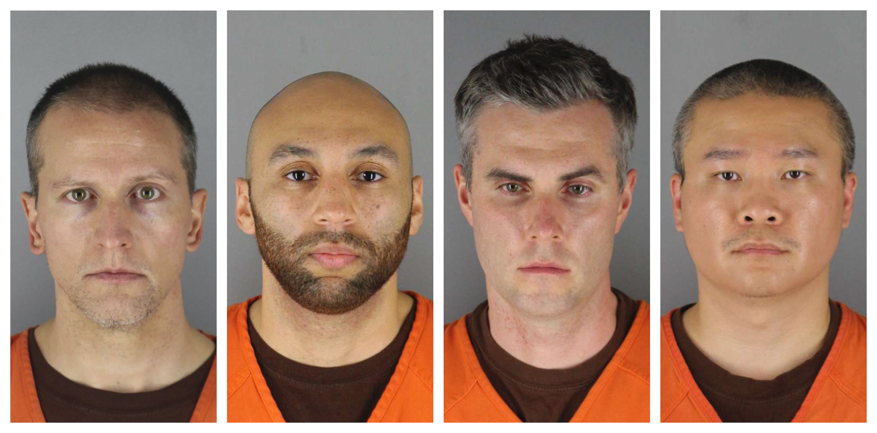 This combination of May 31, 2020 and June 3, 2020 photos provided by the Hennepin County Sheriff shows Derek Chauvin, J. Keung, Thomas Lane, Tou Thao.