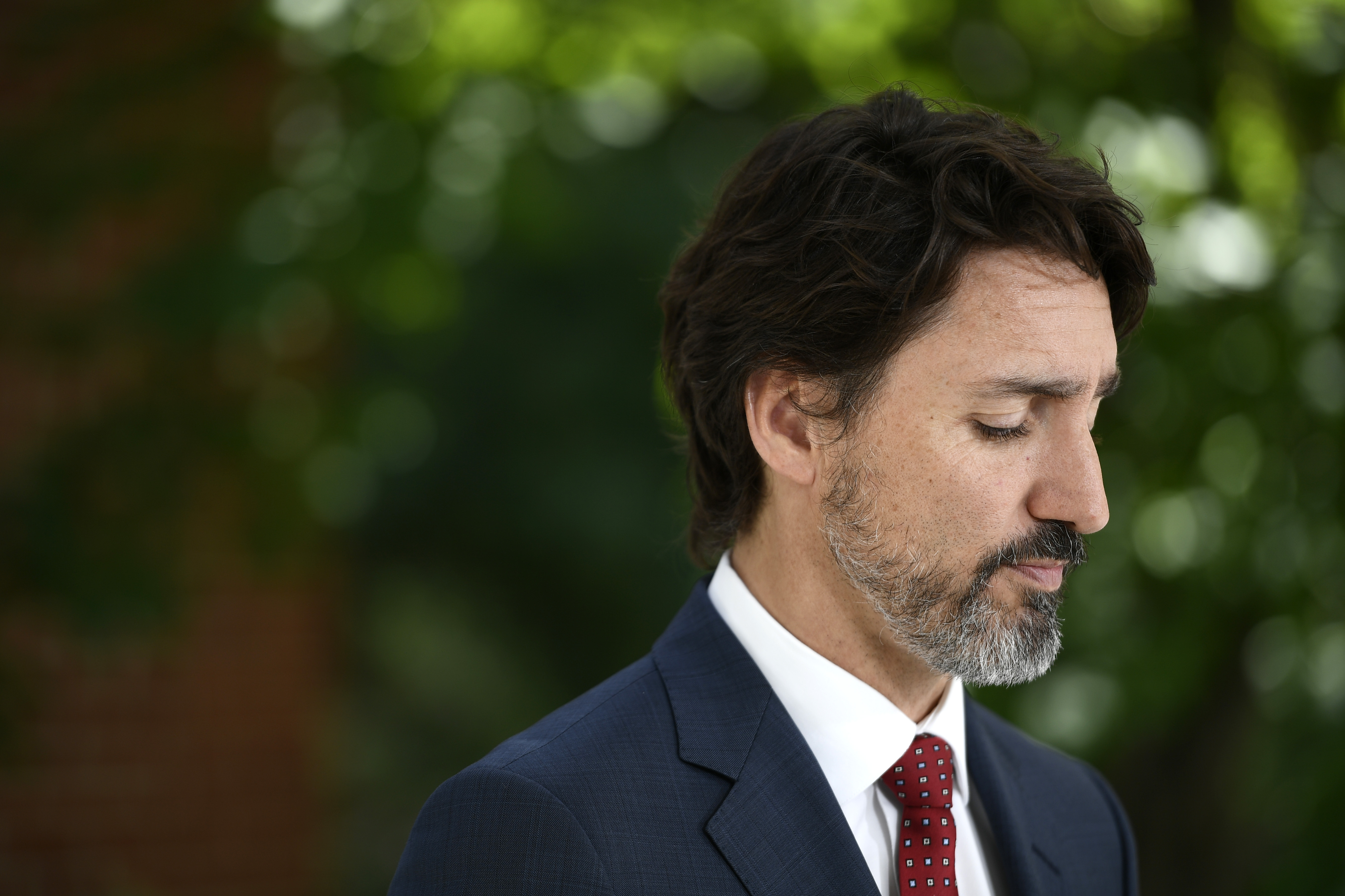 Prime Minister Justin Trudeau speaks during a news conference outside his residence at Rideau Cottage in Ottawa on June 18, 2020.