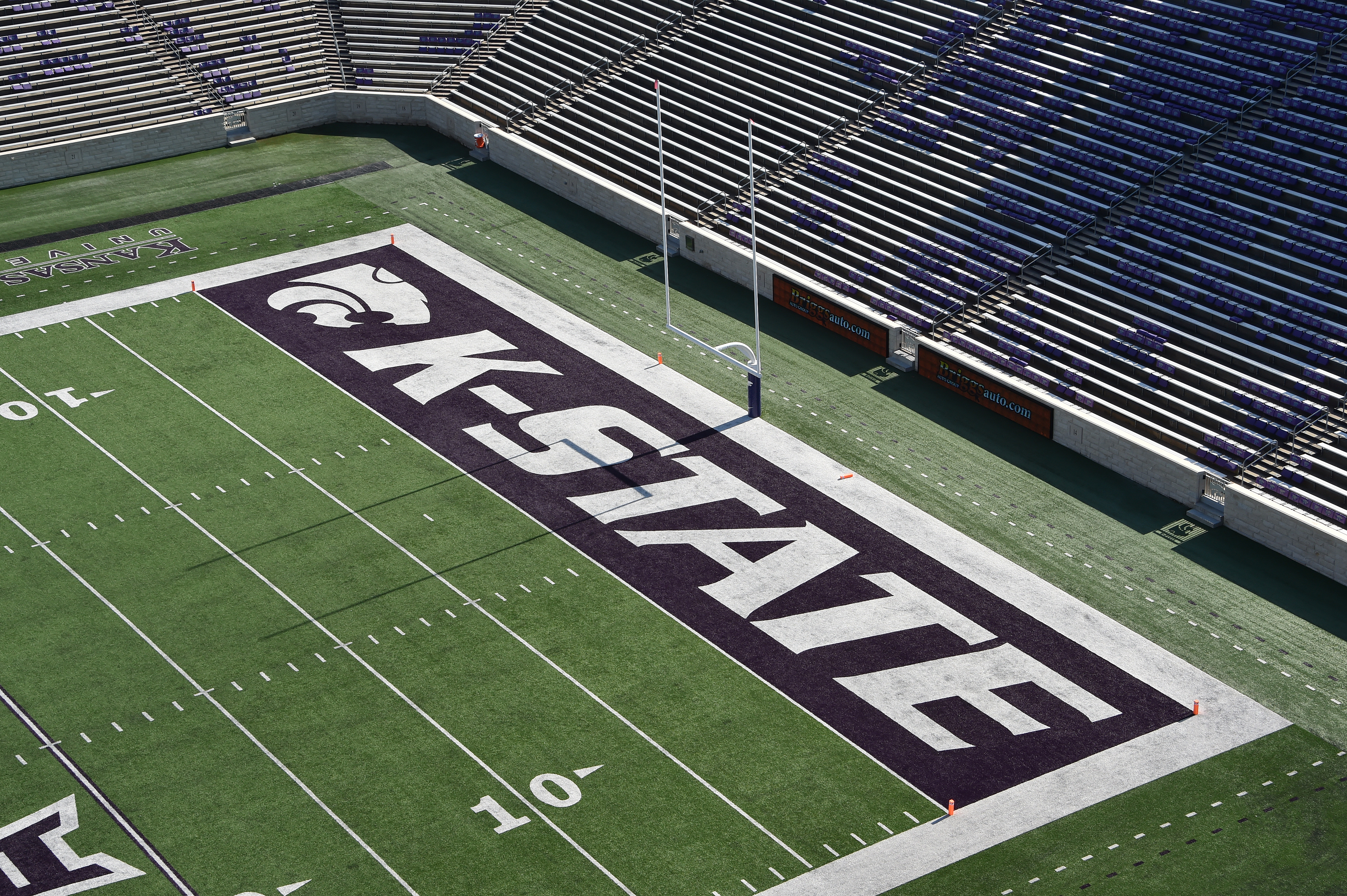 A general view of the end zone at the Bill Snyder Family Football Stadium on Nov. 16, 2019 in Manhattan, Kansas.