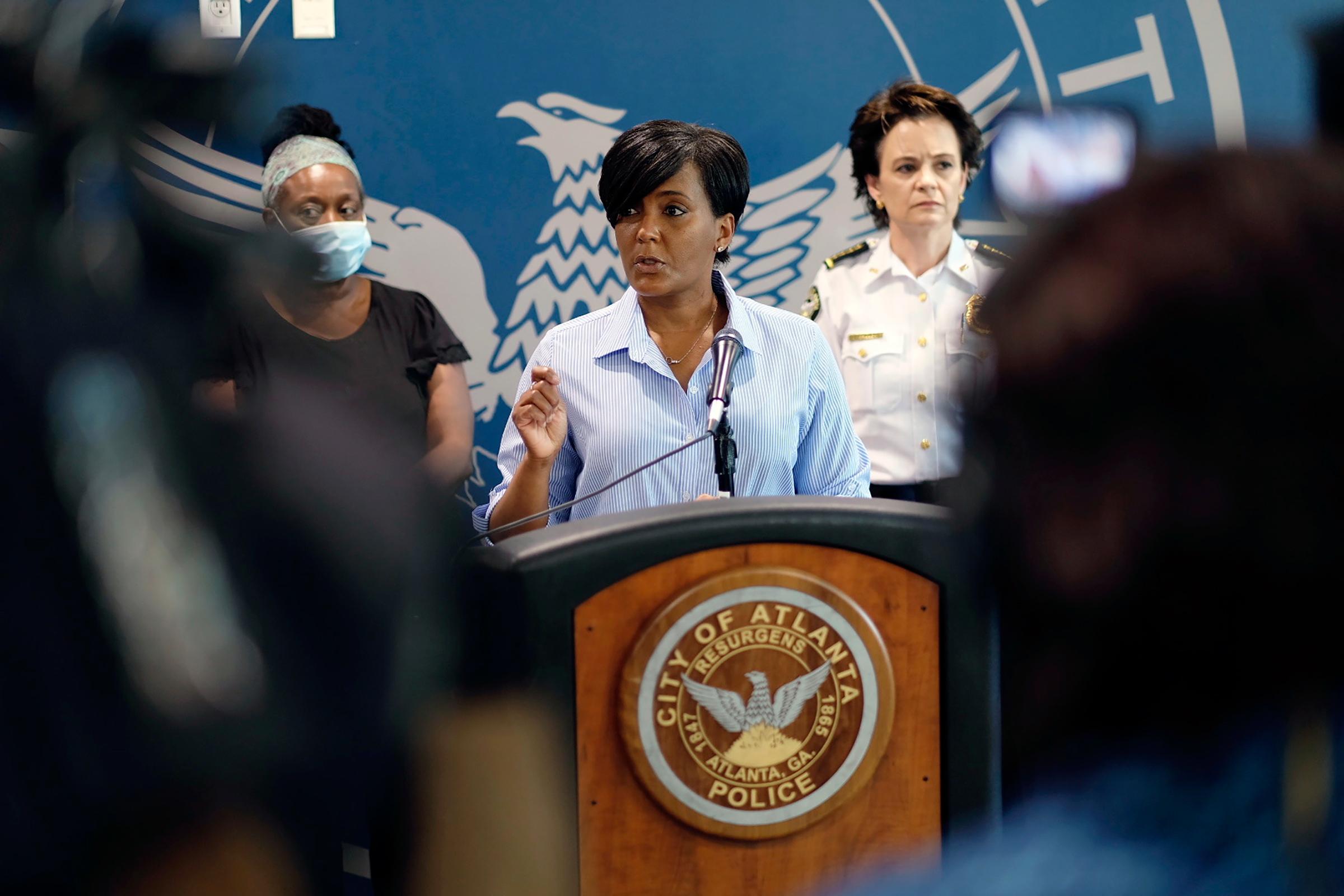 Atlanta Mayor Keisha Lance Bottoms at a press conference on May 30 in Atlanta