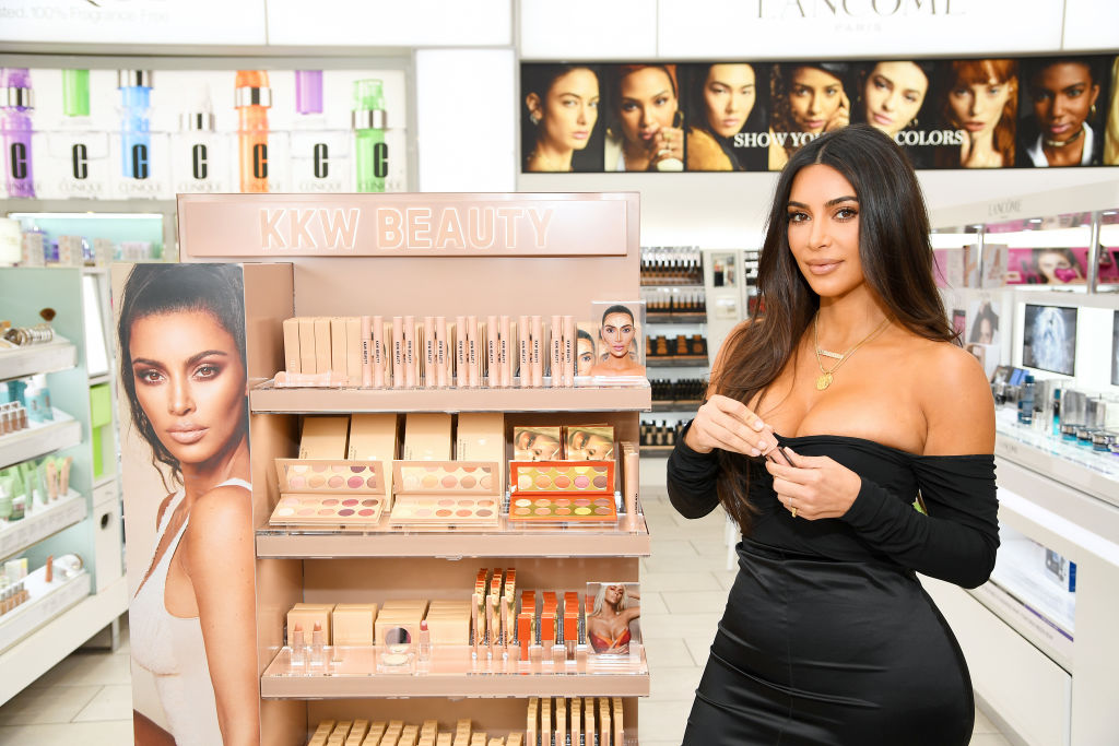 Kim Kardashian attends KKW Beauty launch at ULTA Beauty on October 24, 2019 in New York City.