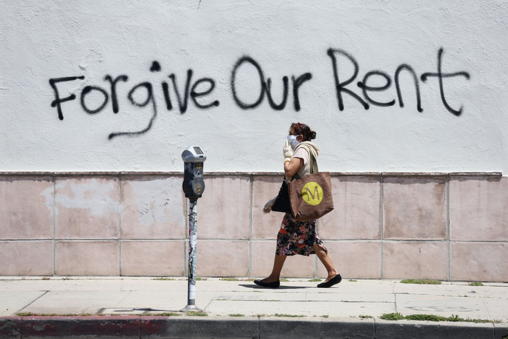 Graffiti supporting the rent strike appear on La Brea Ave. during the coronavirus pandemic on May 01, 2020 in Los Angeles, California.