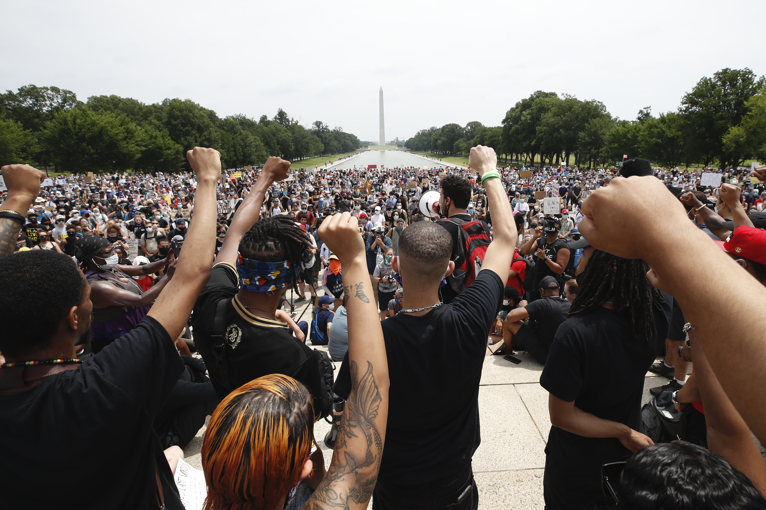 Demonstrators protest on June 6, 2020, at the Lincoln Memorial in Washington D.C.