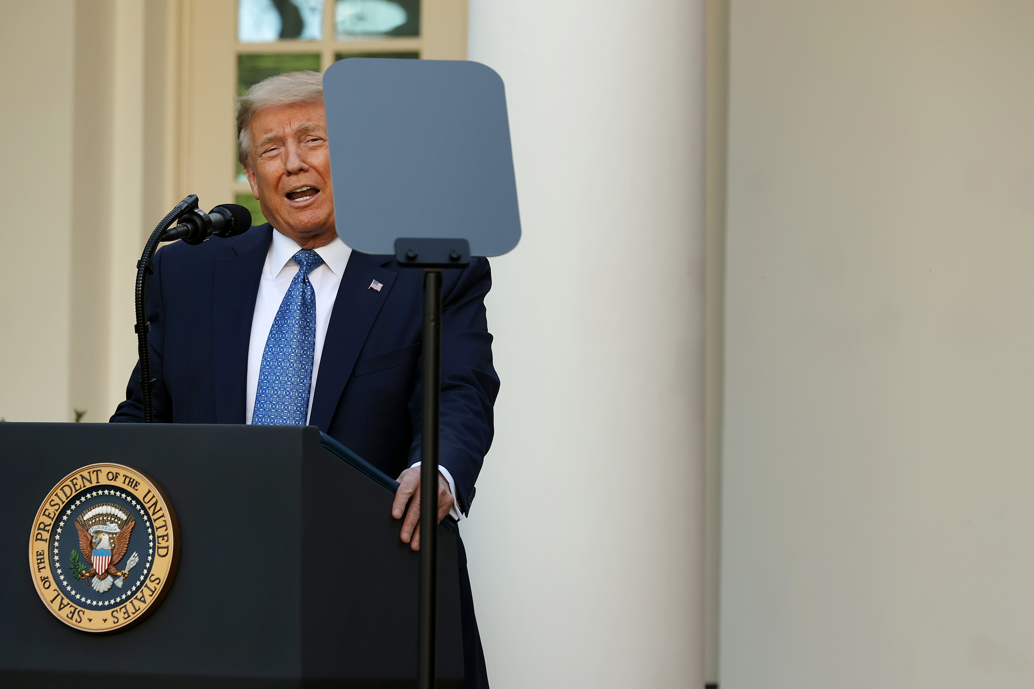 President Donald Trump makes a statement to the press in the Rose Garden on June 1, 2020 in Washington, D.C.