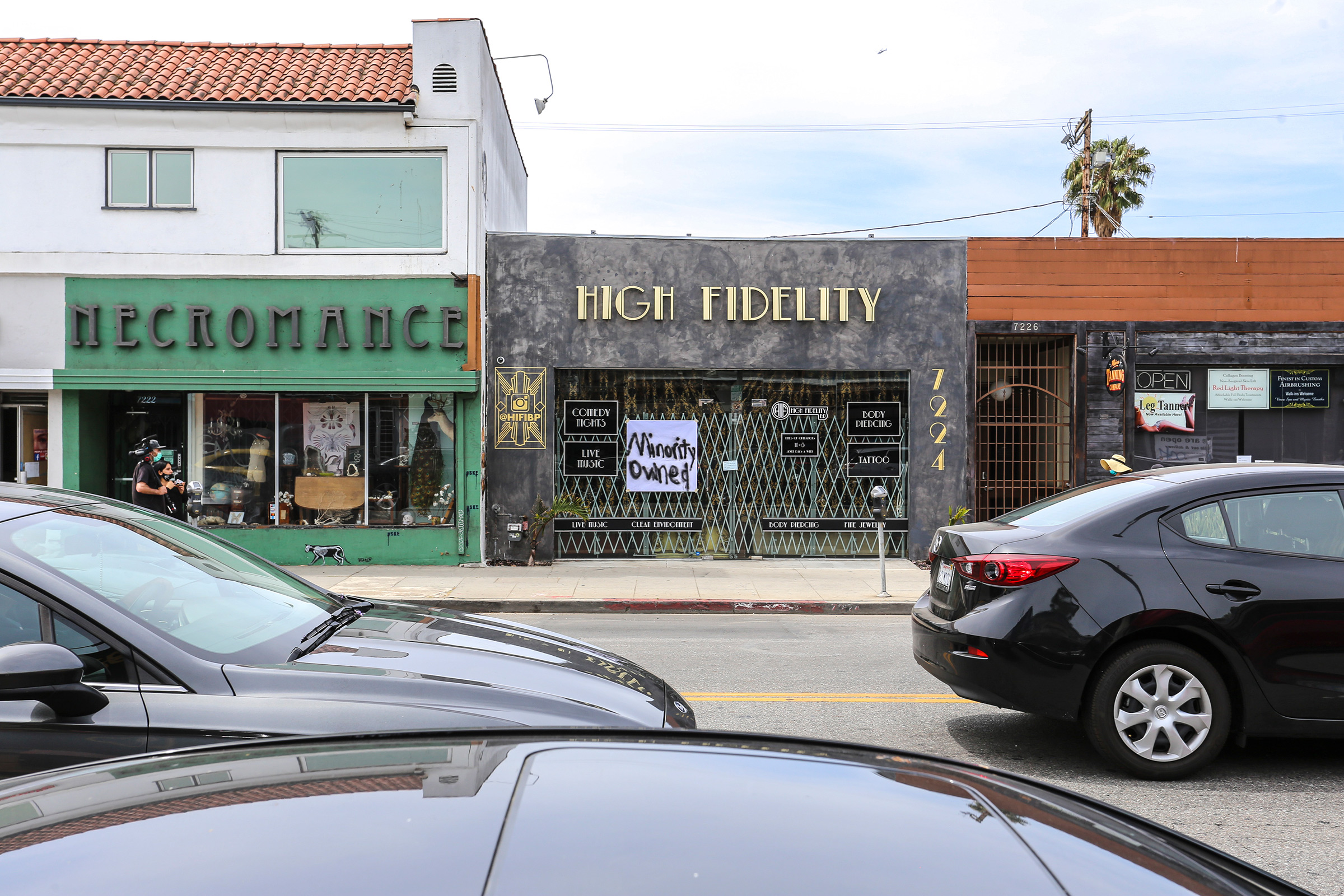 High Fidelity, a black owned business on Melrose Avenue, Los Angeles, displays a  Minority Owned  sign on May 31