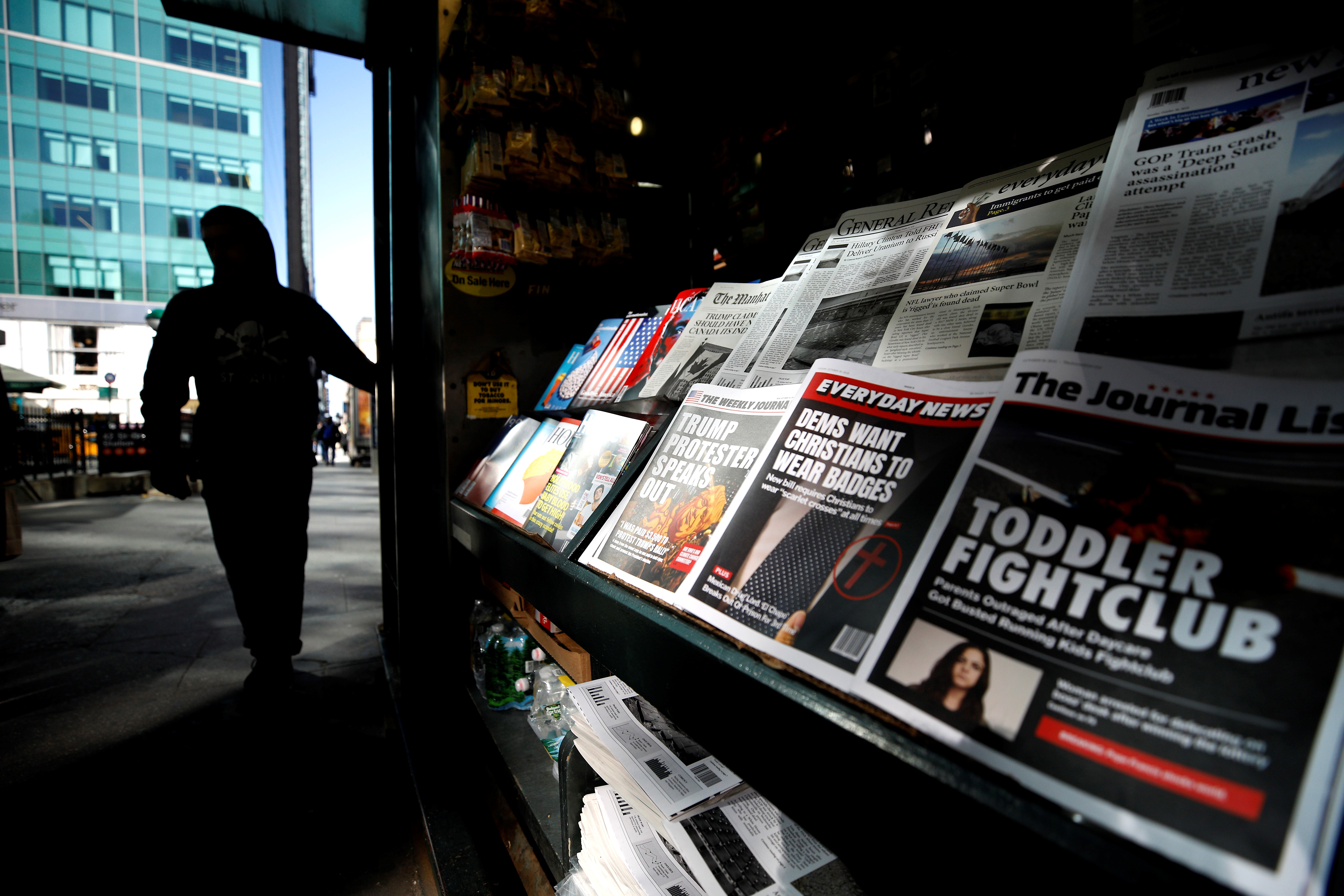 A misinformation news stand is seen in Manhattan, New York on October 30, 2018.