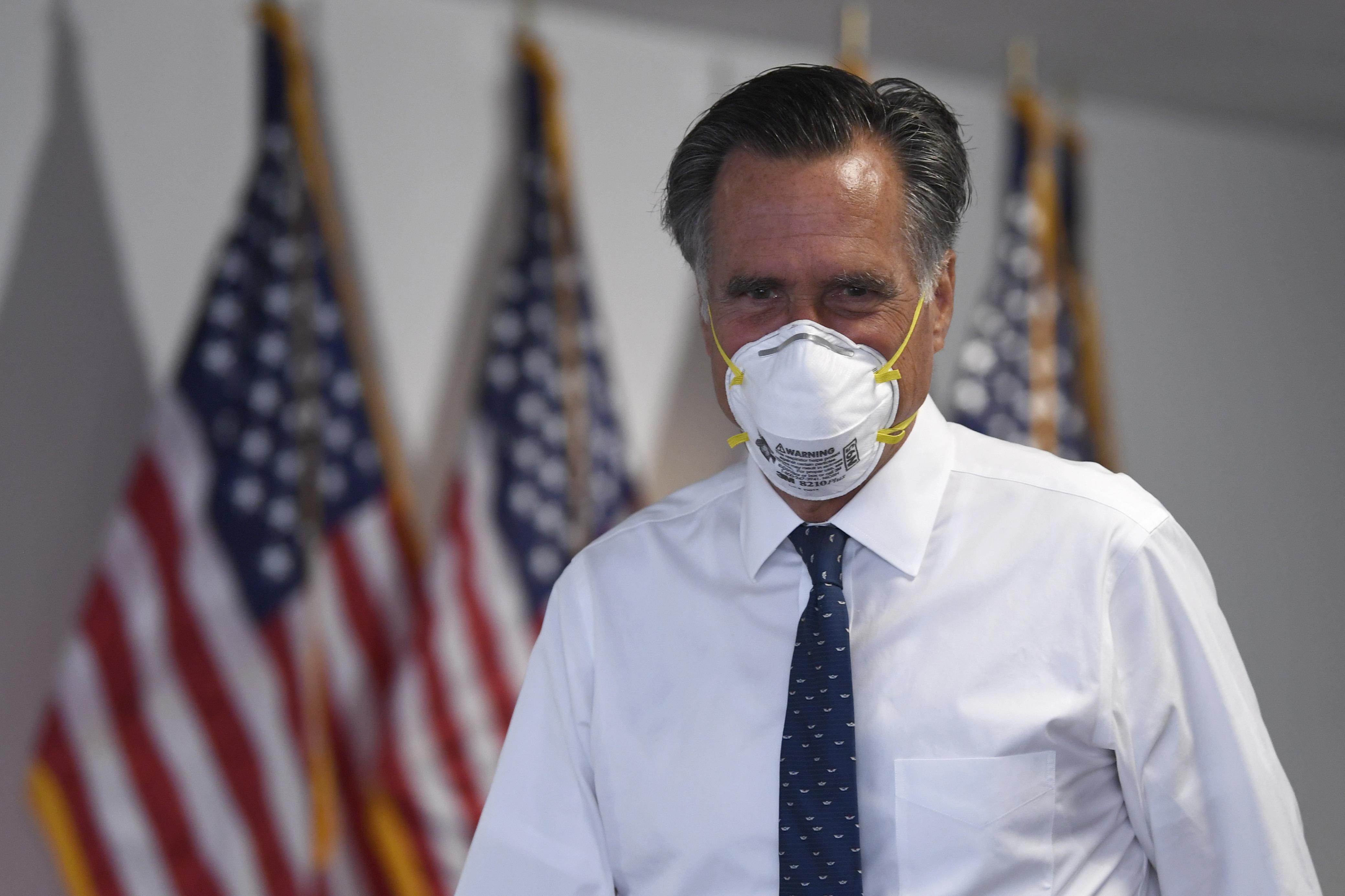 Sen. Mitt Romney, R-Utah, leaves a Republican luncheon on Capitol Hill in Washington, June 4, 2020.