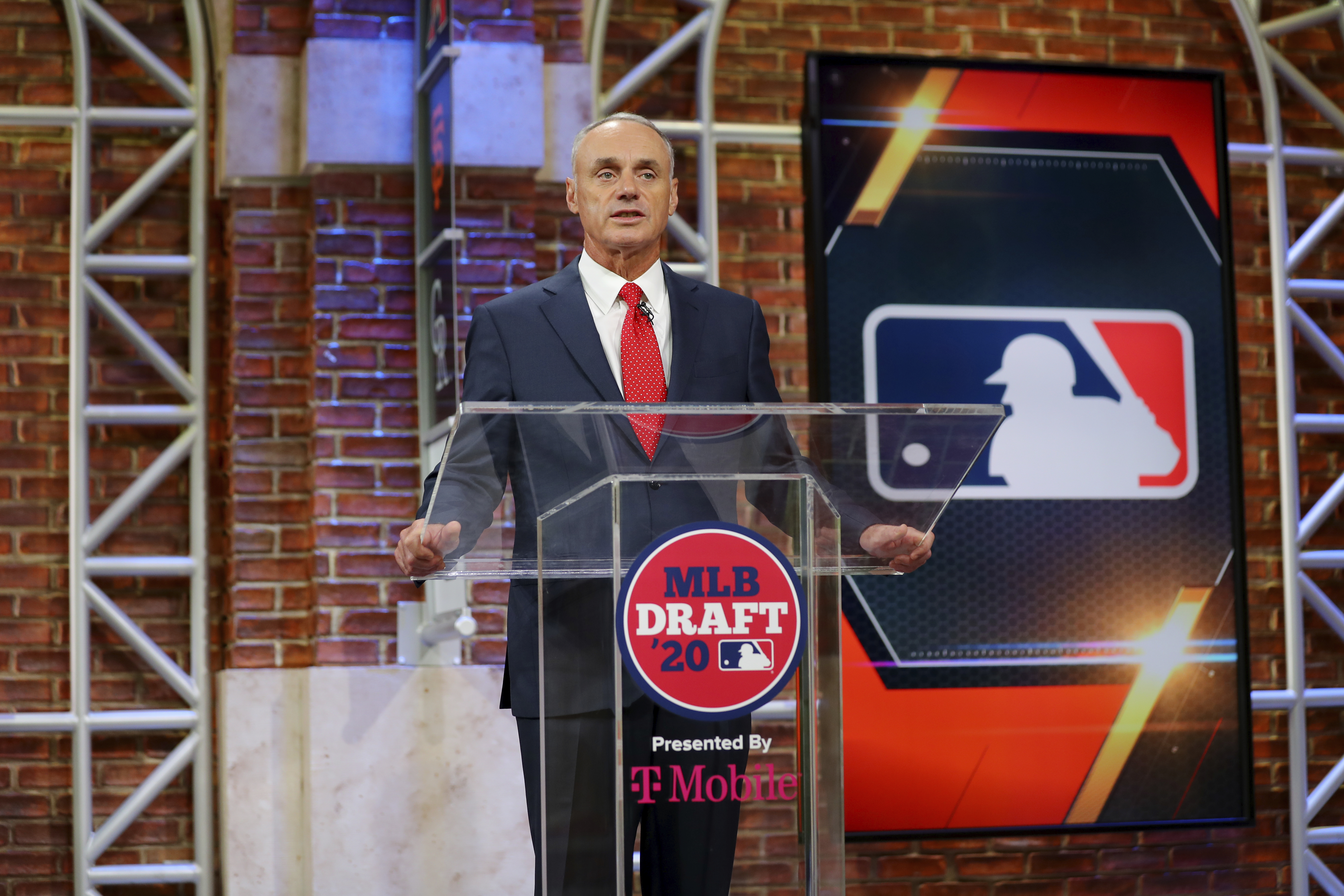 Baseball Commissioner Robert D. Manfred Jr. makes an opening statement during the baseball draft Wednesday, June 10, 2020 in Secaucus, N.J.