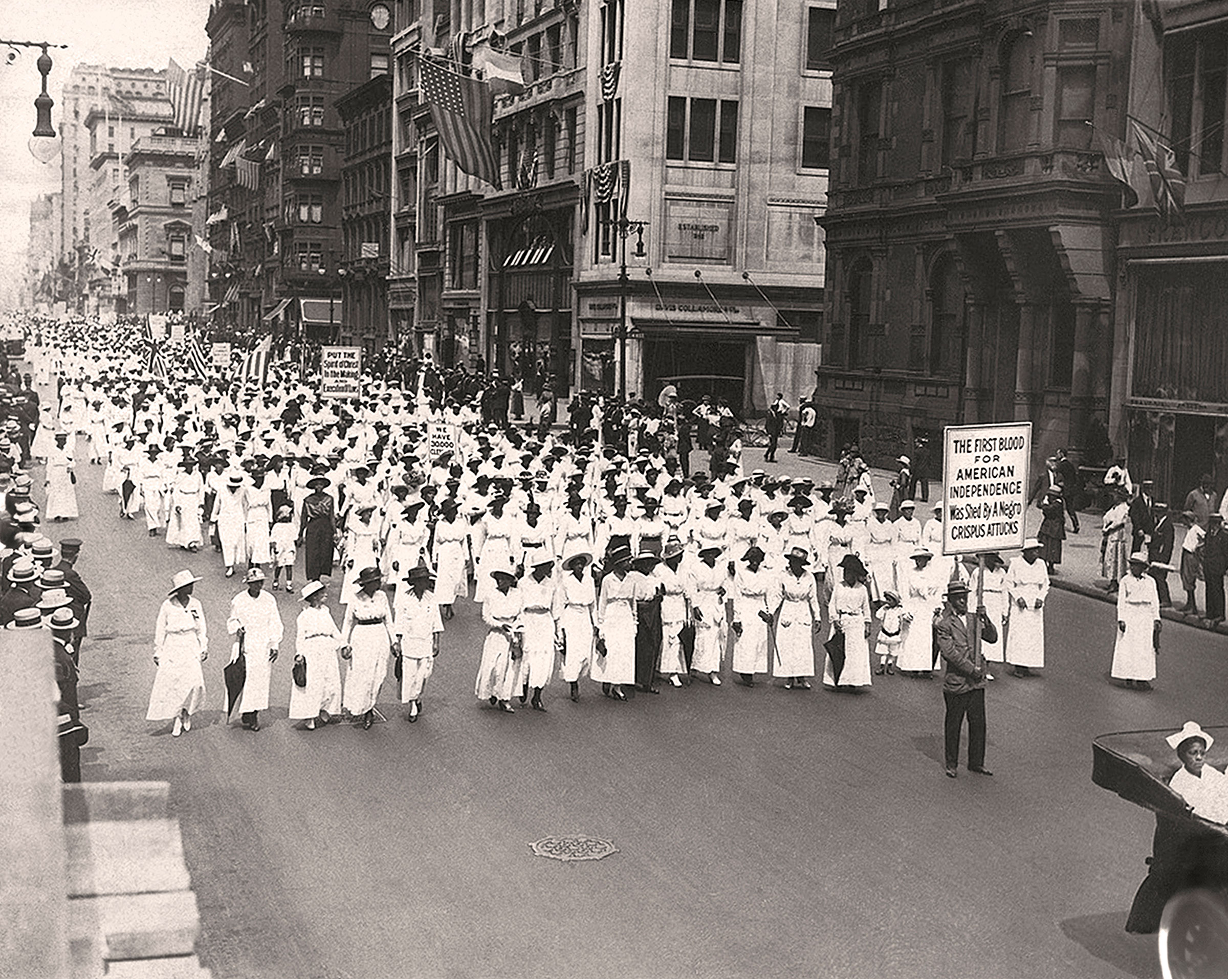 A silent march, to protest the police treatment of Black people in East St. Louis, in New York City, 1917.