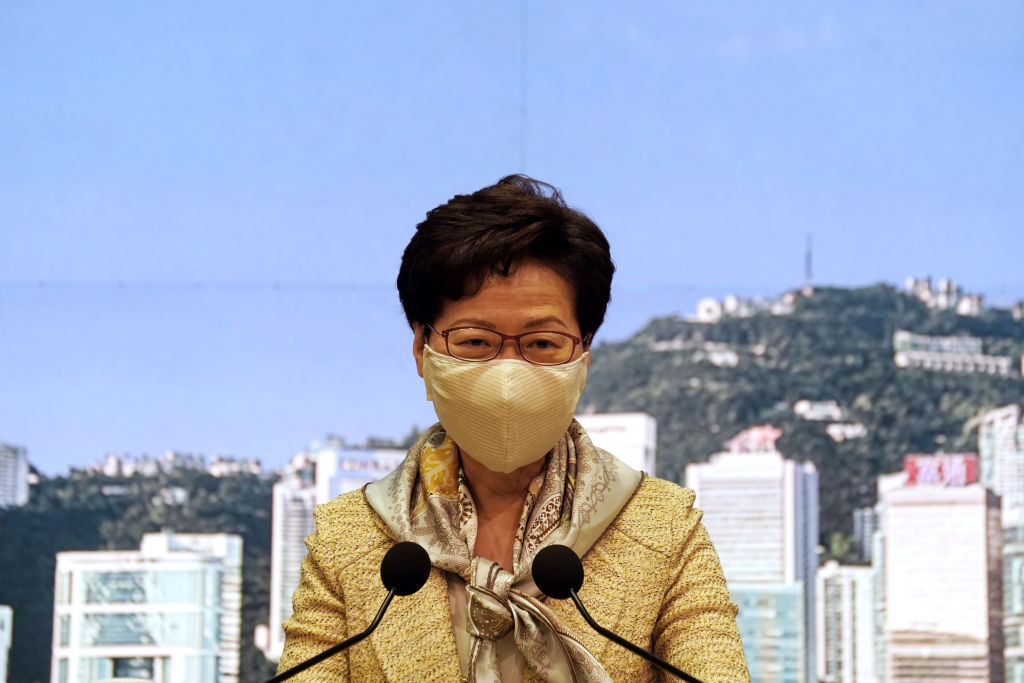 Carrie Lam, Hong Kong's chief executive, speaks while wearing a protective mask during a news conference in Hong Kong on June 30, 2020.