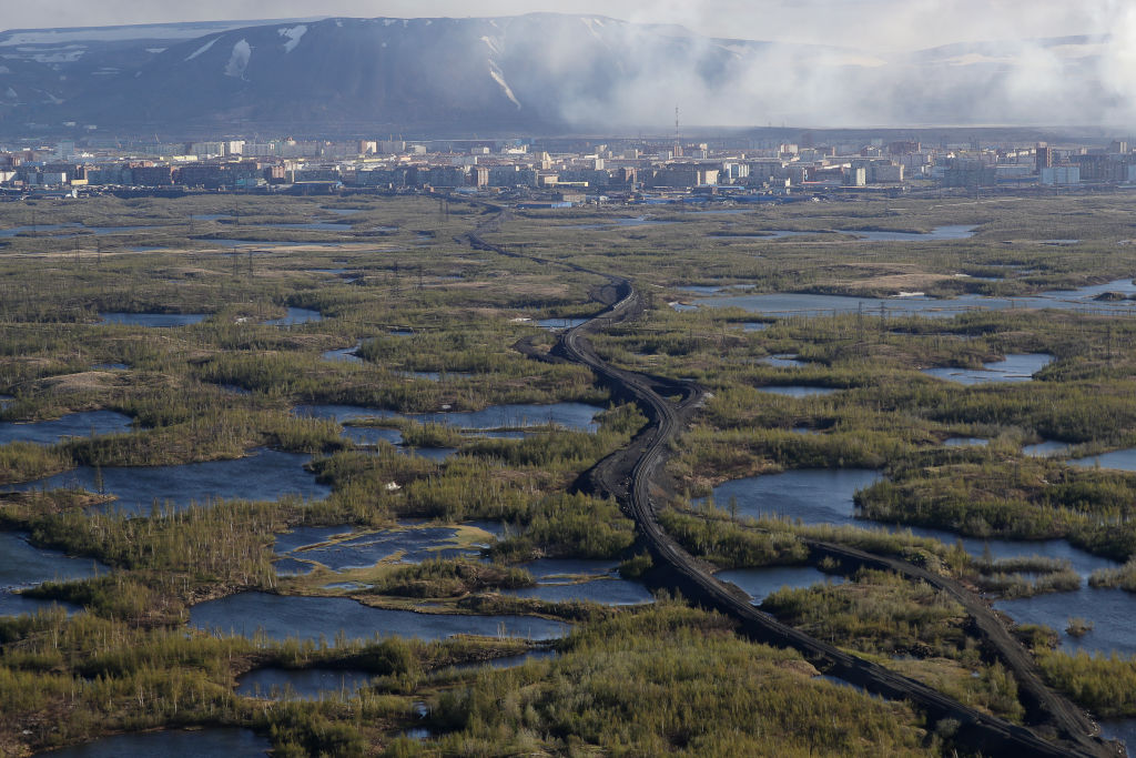 An aerial view of the city of Norilsk in Russia's arctic region on June 6, 2020.