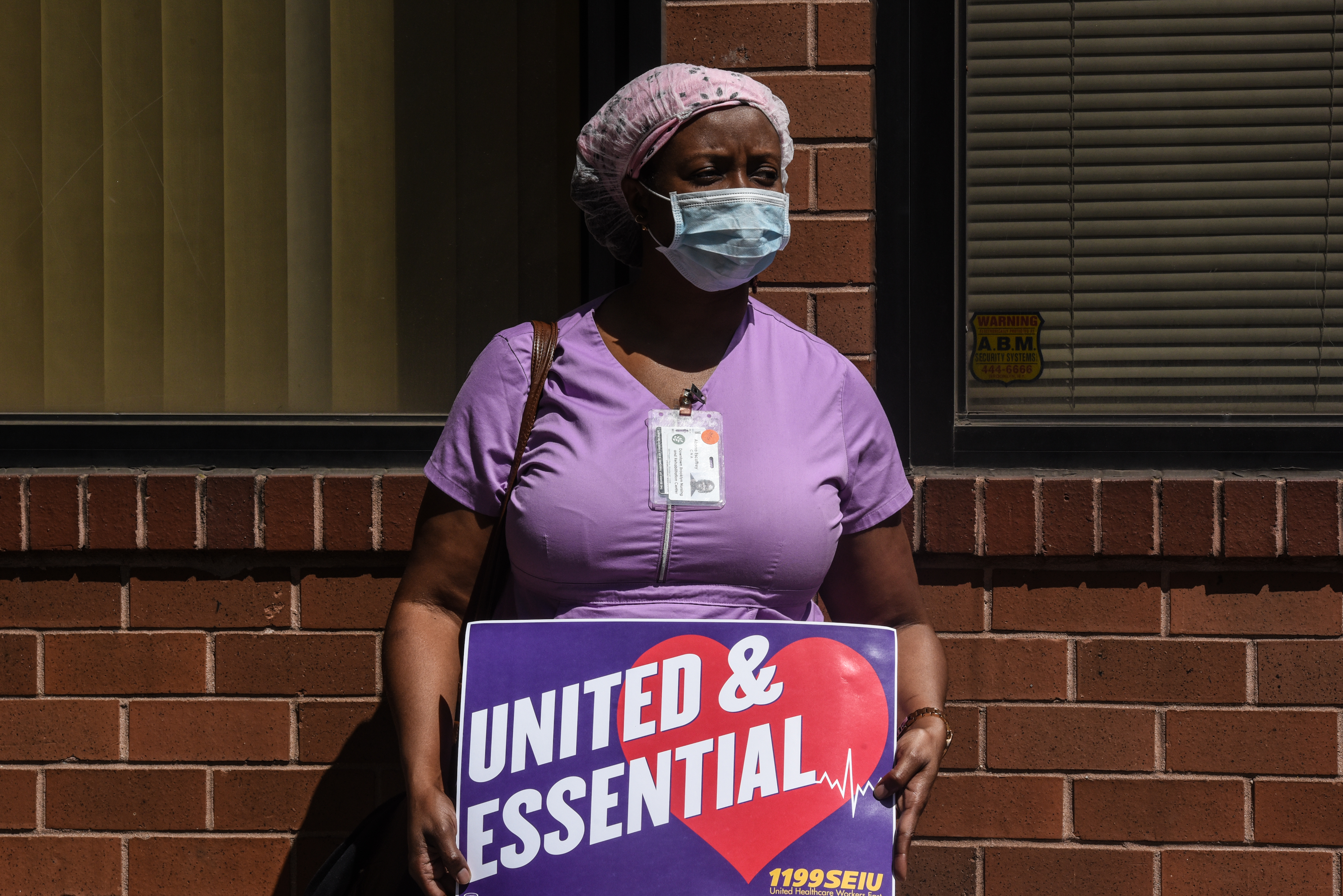 A nursing home worker participates in a a nursing home in the Brooklyn borough of New York City on May 21, 2020.