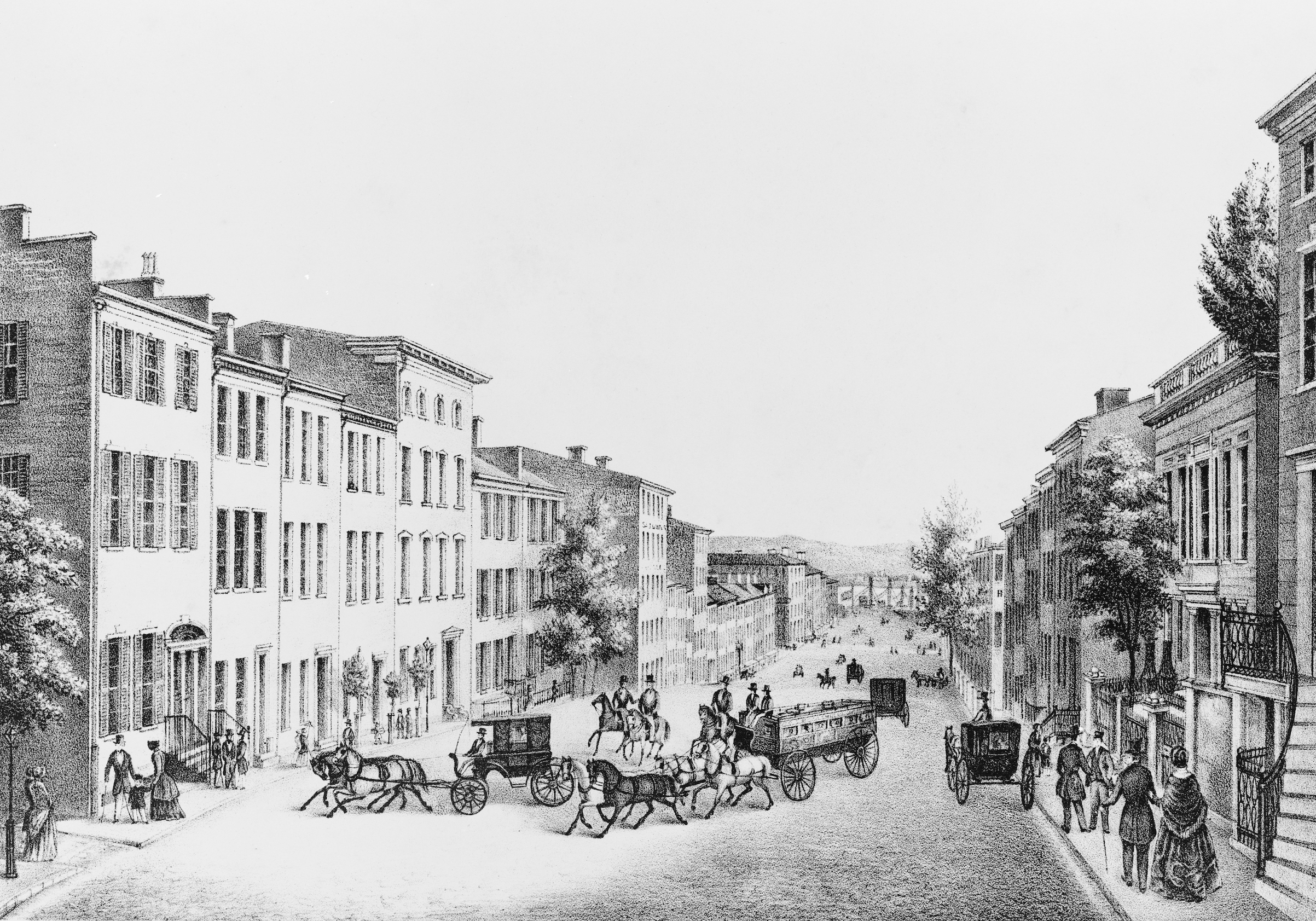 A lithograph depicting Lower Broadway in New York City in the 1830s