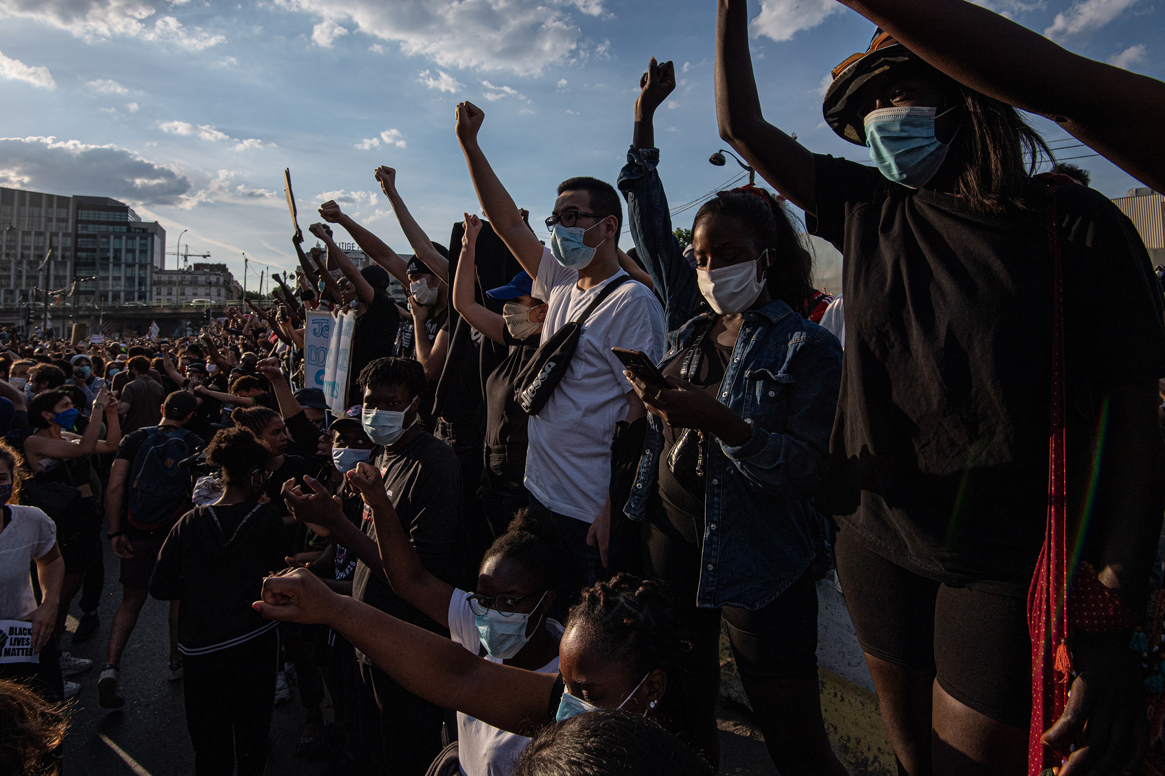 Demonstrators protest against police brutality at the  Tribunal de Paris  courthouse on June 2 in Paris. Thousands of people gathered to protest against racism and police brutality despite a police order that the protest not proceed due to coronavirus (COVID-19) restrictions.