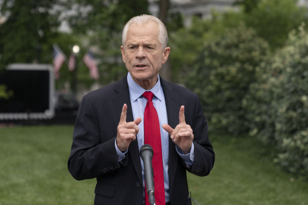 Peter Navarro, director of the National Trade Council, speaks to members of the media after a television interview outside the White House in Washington, D.C., U.S., on Thursday, June 18, 2020.
