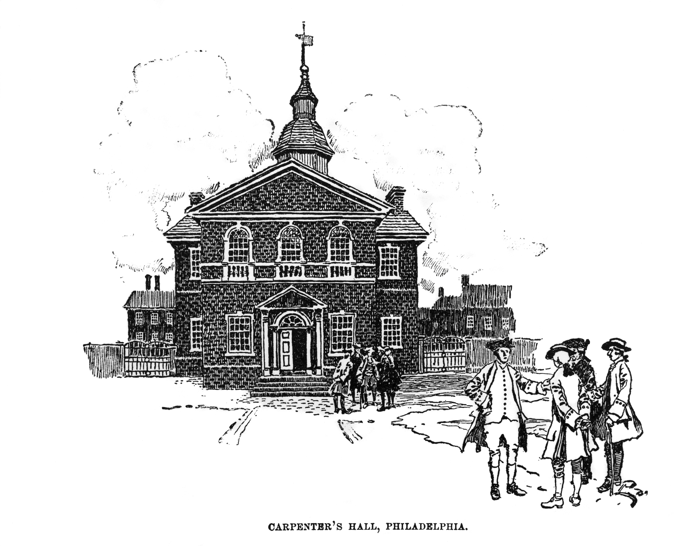 Engraving of Carpenter's Hall in Philadelphia in the 18th century