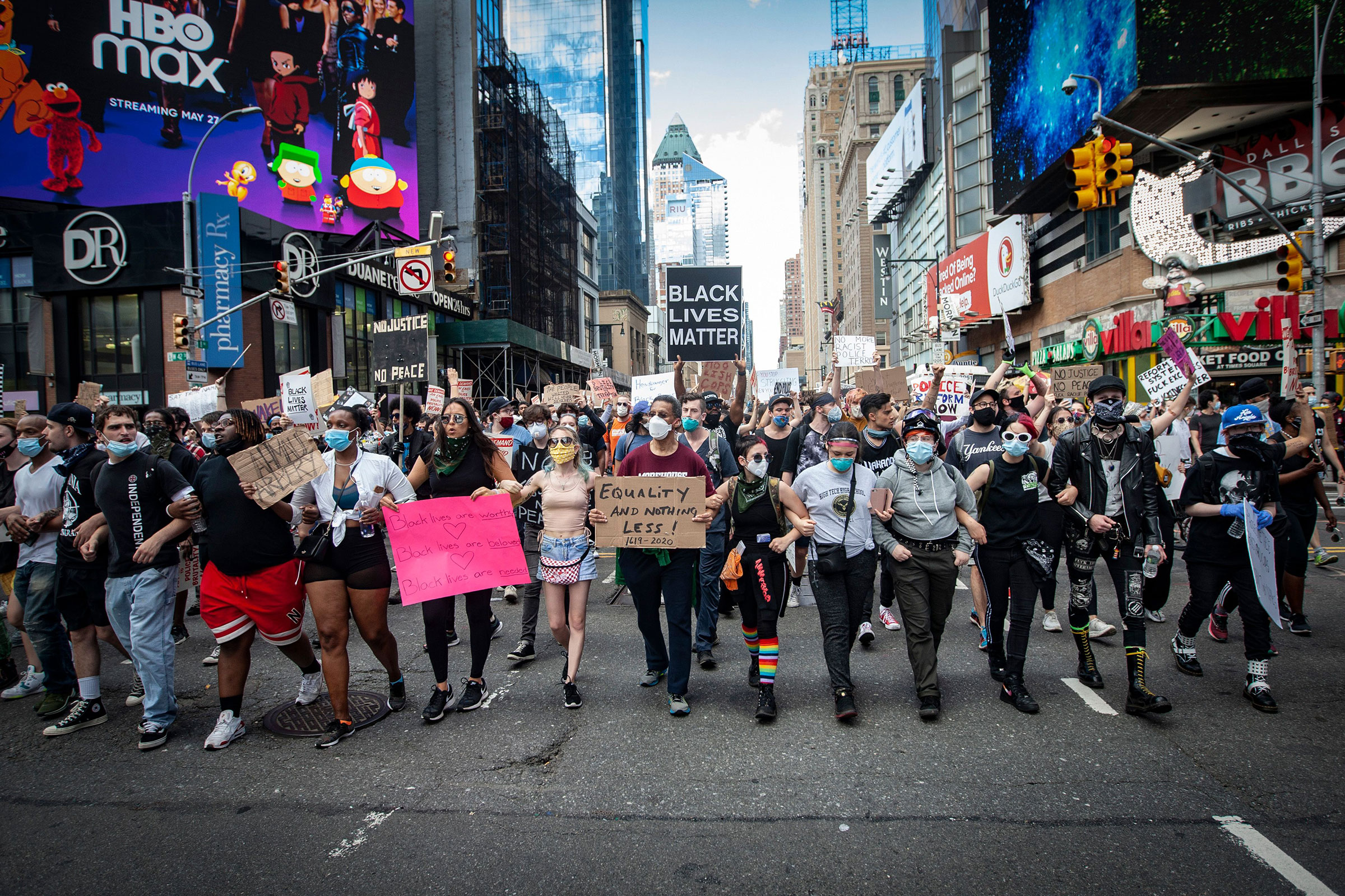 A Black Lives Matter protest march to City Hall in New York City on June 7, 2020.
