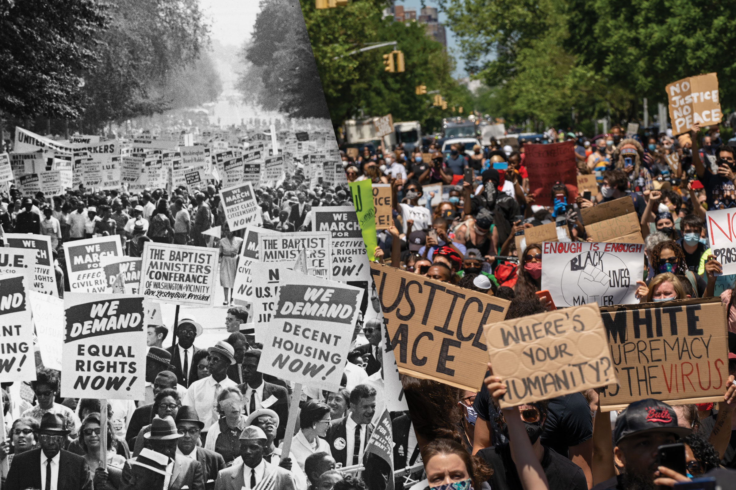 Left: Between 200,000 and 500,000 demonstrators march down Constitution Avenue during the March on Washington for Jobs and Freedom, Washington D.C., Aug. 28, 1963; Right: Protesters gather in Harlem to protest the recent death of George Floyd on May 30, 2020 in New York City.