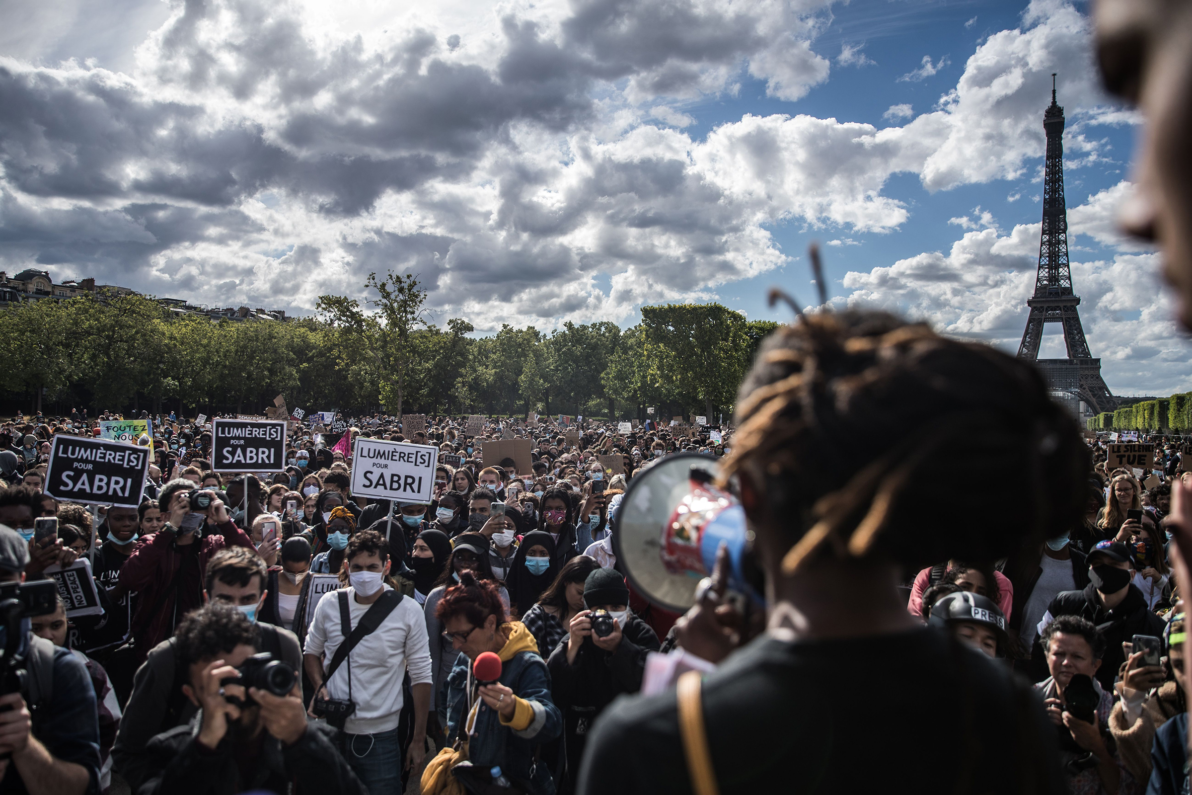 Protesters in Paris speak out on June 6 against police brutality in the U.S. and France