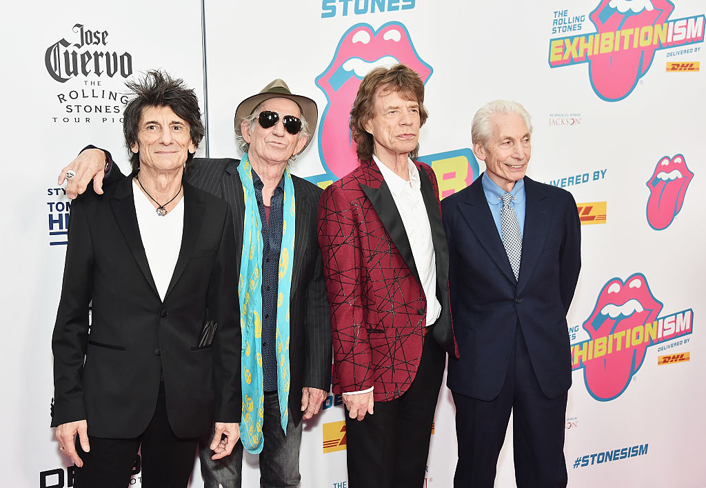 (L-R) Ronnie Wood, Keith Richards, Mick Jagger and Charlie Watts of The Rolling Stones attend The Rolling Stones celebrate the North American debut of Exhibitionism at Industria in the West Village on Nov. 15, 2016 in New York City.