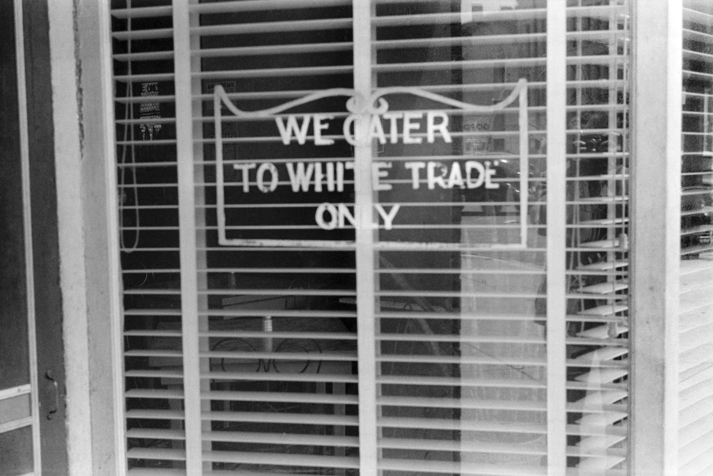 Restaurant with Sign  We Cater to White Trade Only,  Lancaster Ohio, USA, Ben Shahn, Farm Security Administration, August 1938