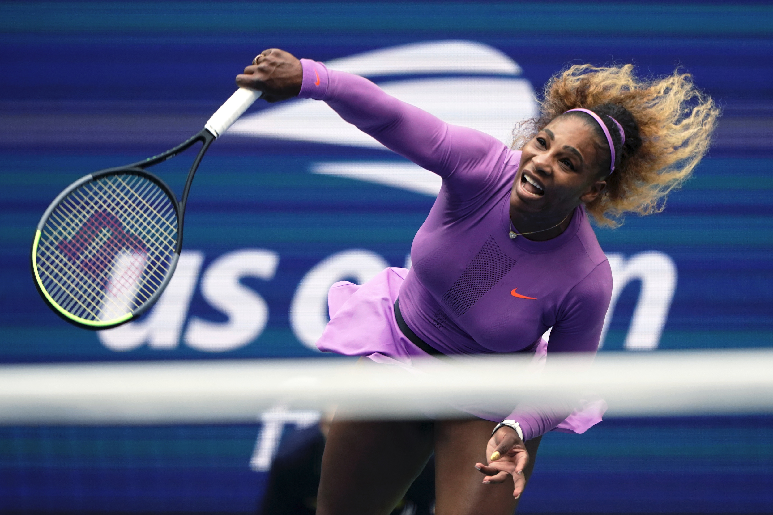 Serena Williams, of the United States, returns a shot to Bianca Andreescu, of Canada, during the women's singles final of the U.S. Open tennis championships on Sept. 7, 2019, in New York.