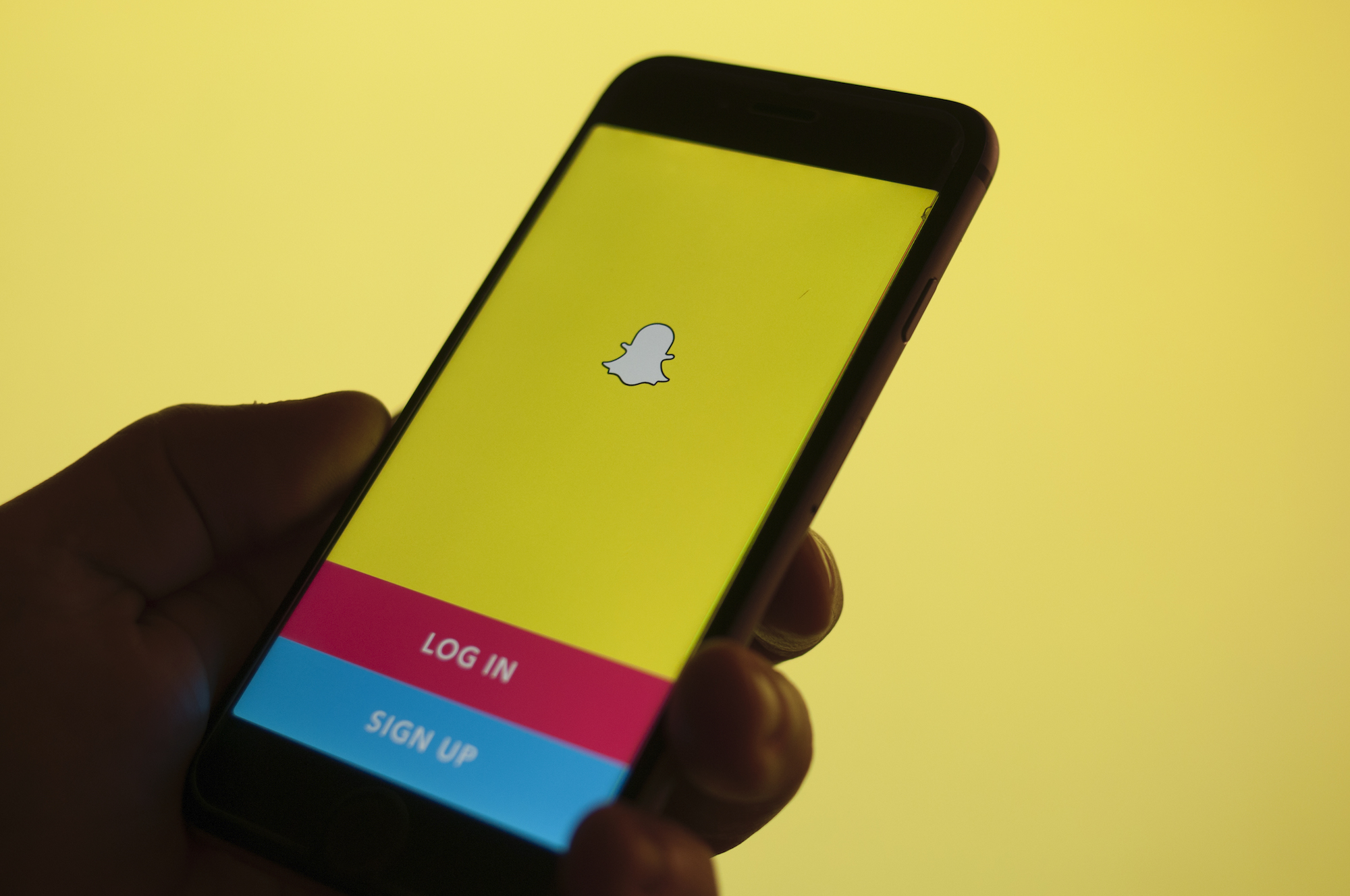 The Snapchat image messaging and multidmedia application is seen on an iPhone in this photo illustration on Dec. 5, 2017.