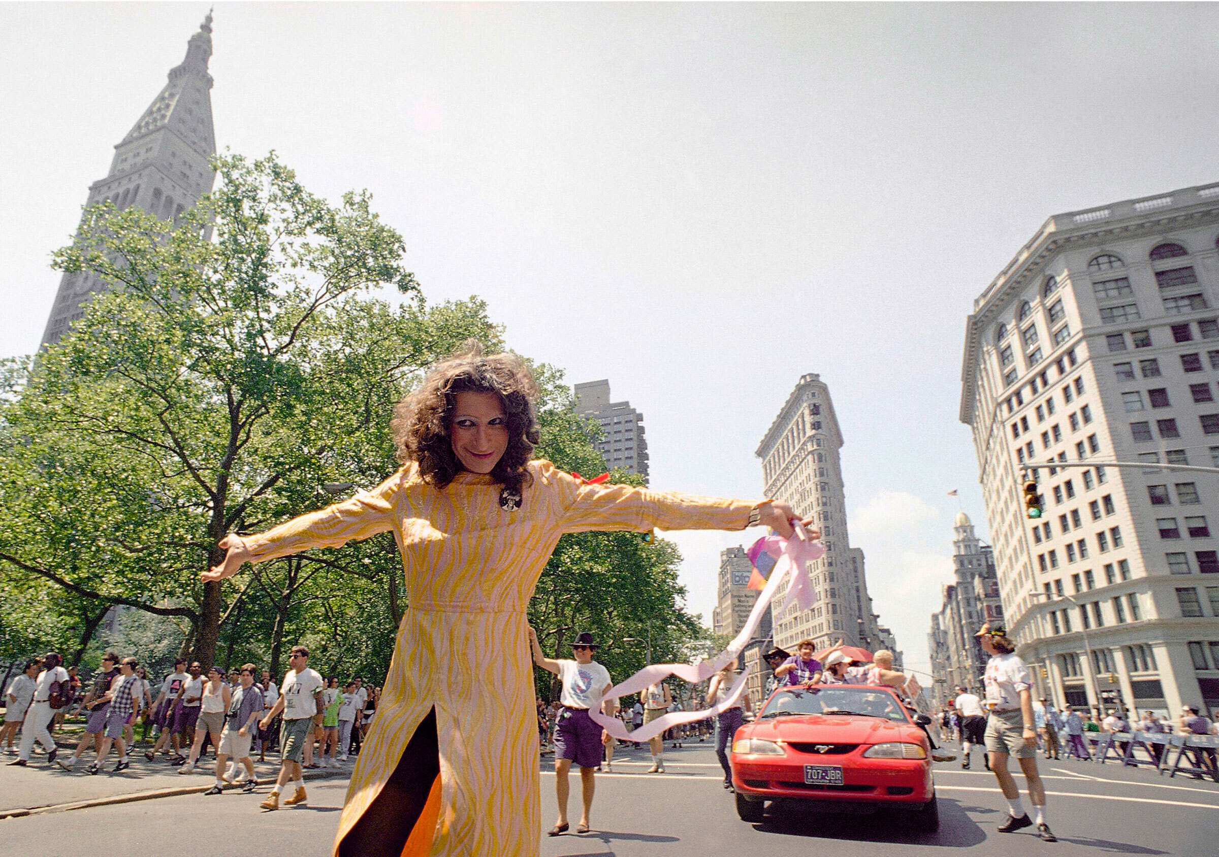 Sylvia Rivera leads an ACT-UP march past Madison Square Park in New York, on June 26, 1994.