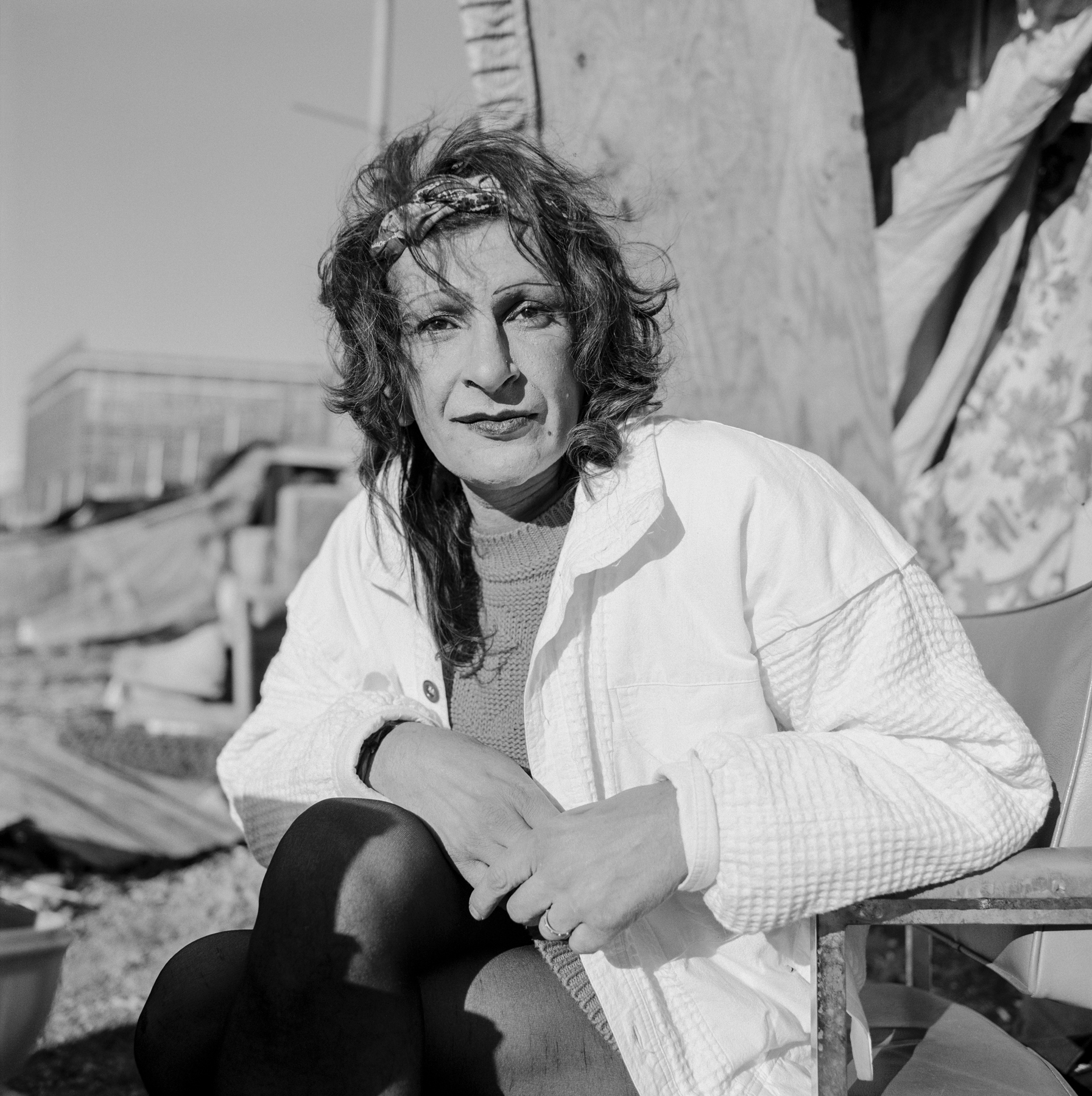 Sylvia Rivera at her Hudson riverfront home encampment in New York in 1996