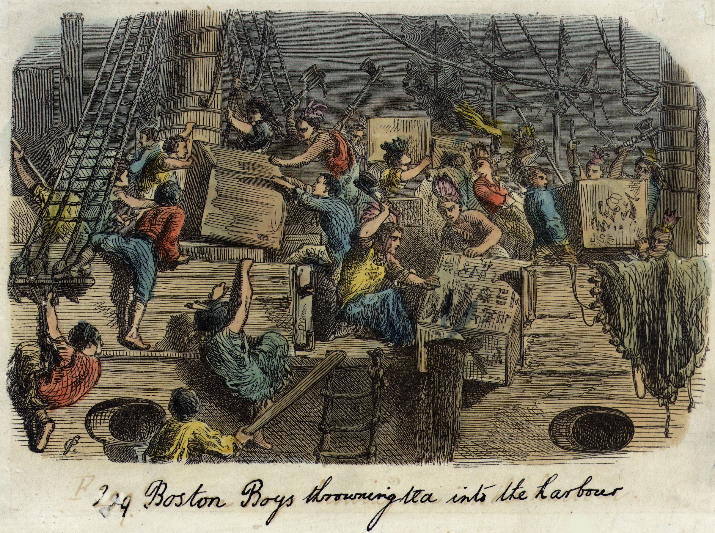 Illustration of the Boston Tea Party: A group of Bostonians, dressed as Native Americans, board a British ship laden with imported tea to throw the full crates into the harbor.