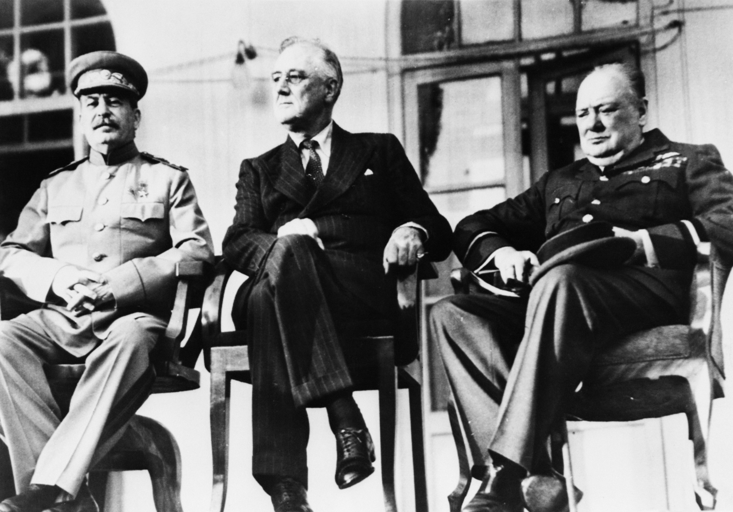 The historic meeting of the 'Big Three' in Teheran, Dec. 1943. Left to right: Soviet dictator Marshal Joseph Stalin (1879-1953), U.S President Franklin Delano Roosevelt (1882-1945) and British Prime Minister Winston Churchill (1874-1965).