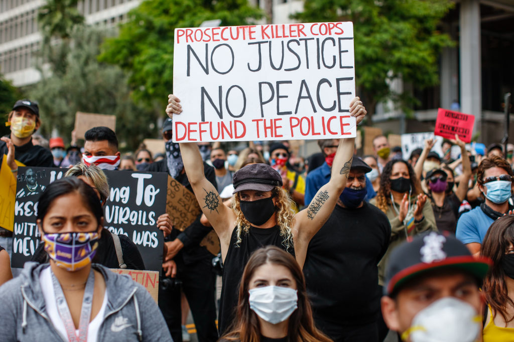 About 1,000 people gathered to protest the death of George Floyd and in support of Black Lives Matter, in downtown, Los Angeles on June 5, 2020.