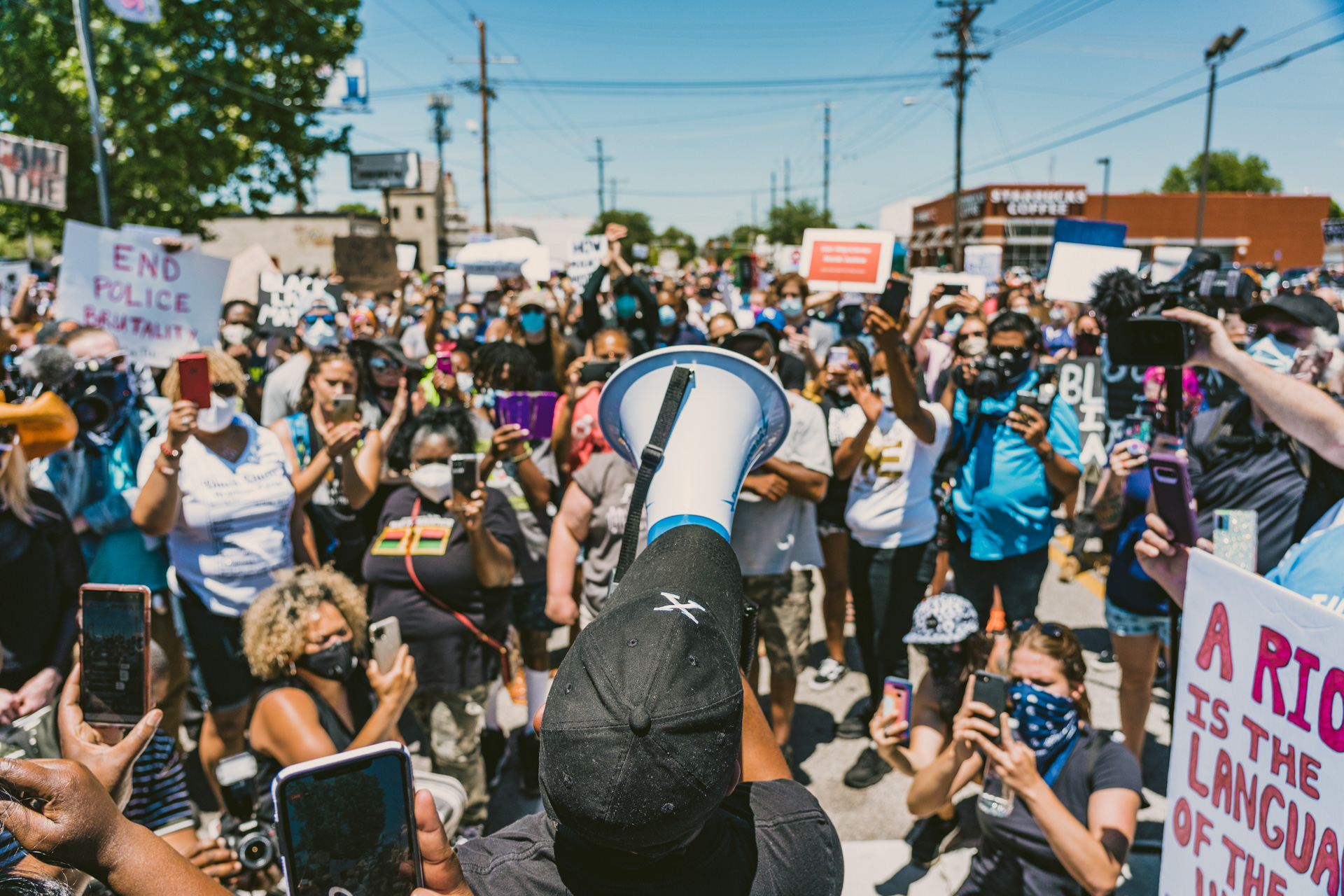 Tulsa activist Greg Robinson leads a protest in downtown Tulsa to protest racial in justice and police brutality in the wake of George Floyd's death.