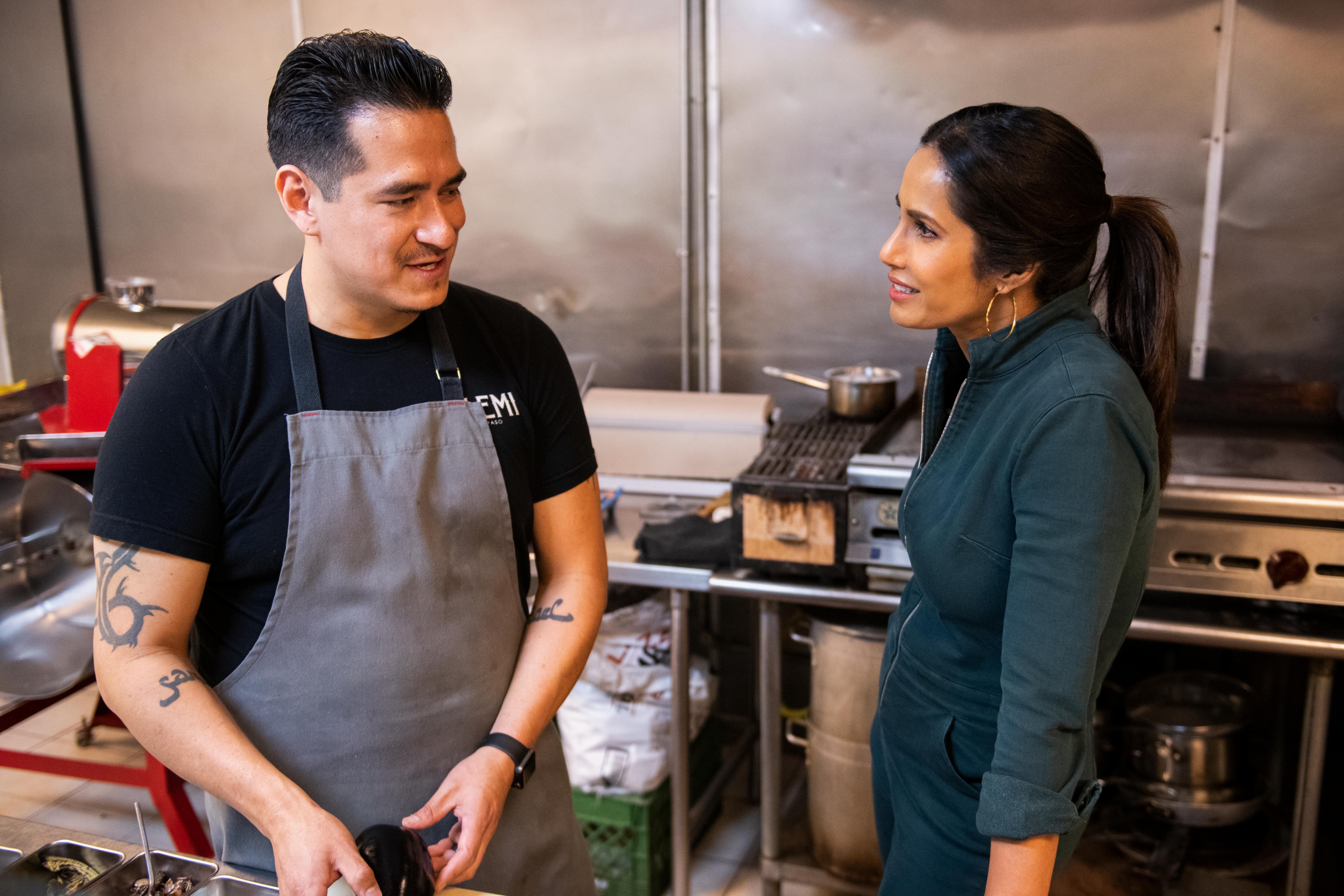 Padma Lakshmi with chef Emiliano Marentes of El Paso's Elemi in 'Taste the Nation'