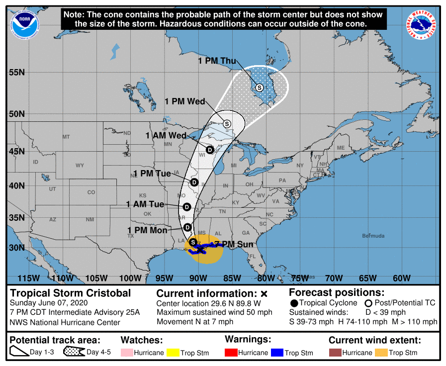 Tropical Storm Cristobal made landfall Sunday, June 7, 2020 on the Louisiana coast, packing 50 mph winds and spinning dangerous weather as far east as northern Florida, where it spawned a tornado that uprooted trees and downed power lines.