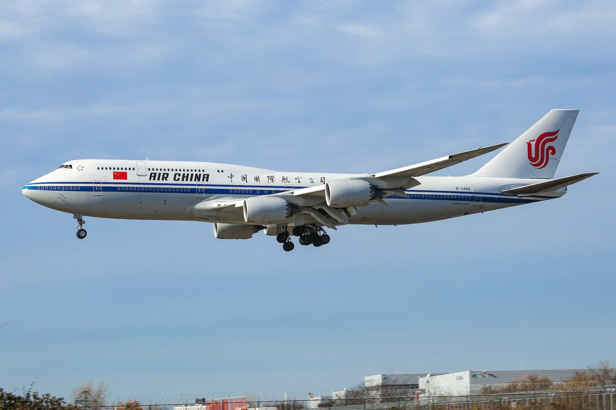 Air China Boeing 747-8 commercial aircraft, nicknamed the Queen of the Skies, as seen flying on final approach landing at New York JFK John F. Kennedy International Airport on January 23, 2020.