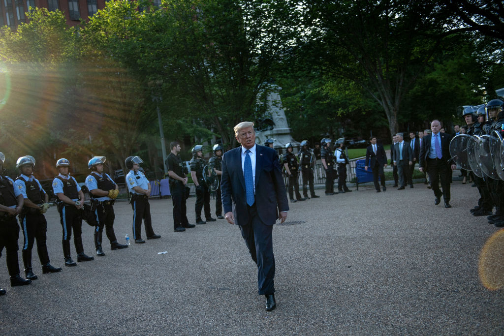 President Donald Trump leaves the White House on foot to go to St. John's Episcopal Church across Lafayette Park in Washington, DC on June 1, 2020.