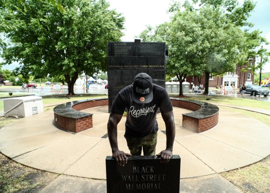 A memorial to Black Wall Street in Tulsa, Okla., on June 19, Juneteenth, a day before Trump's rally