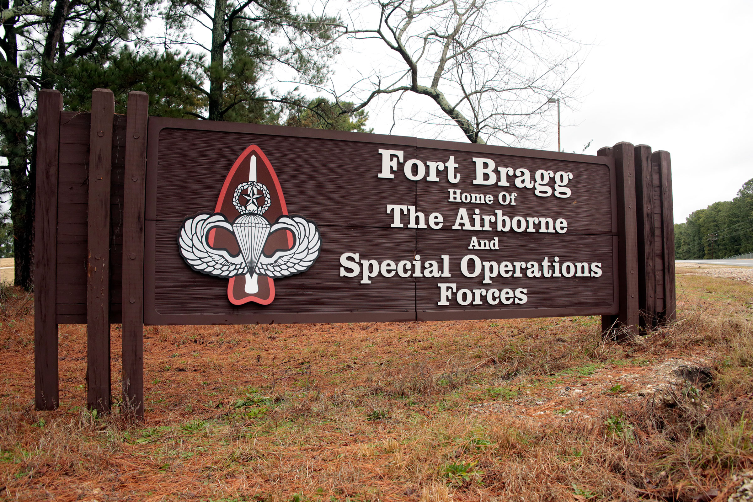 "The sign for Fort Bragg in N.C., on Jan. 4, 2020. Defense Secretary Mark Esper and Army Secretary Ryan McCarthy, both former Army officers, put out word that they are ""open to a bipartisan discussion"" of renaming Army bases like North Carolina's Fort Bragg that honor Confederate officers associated by some with the racism of that tumultuous time."