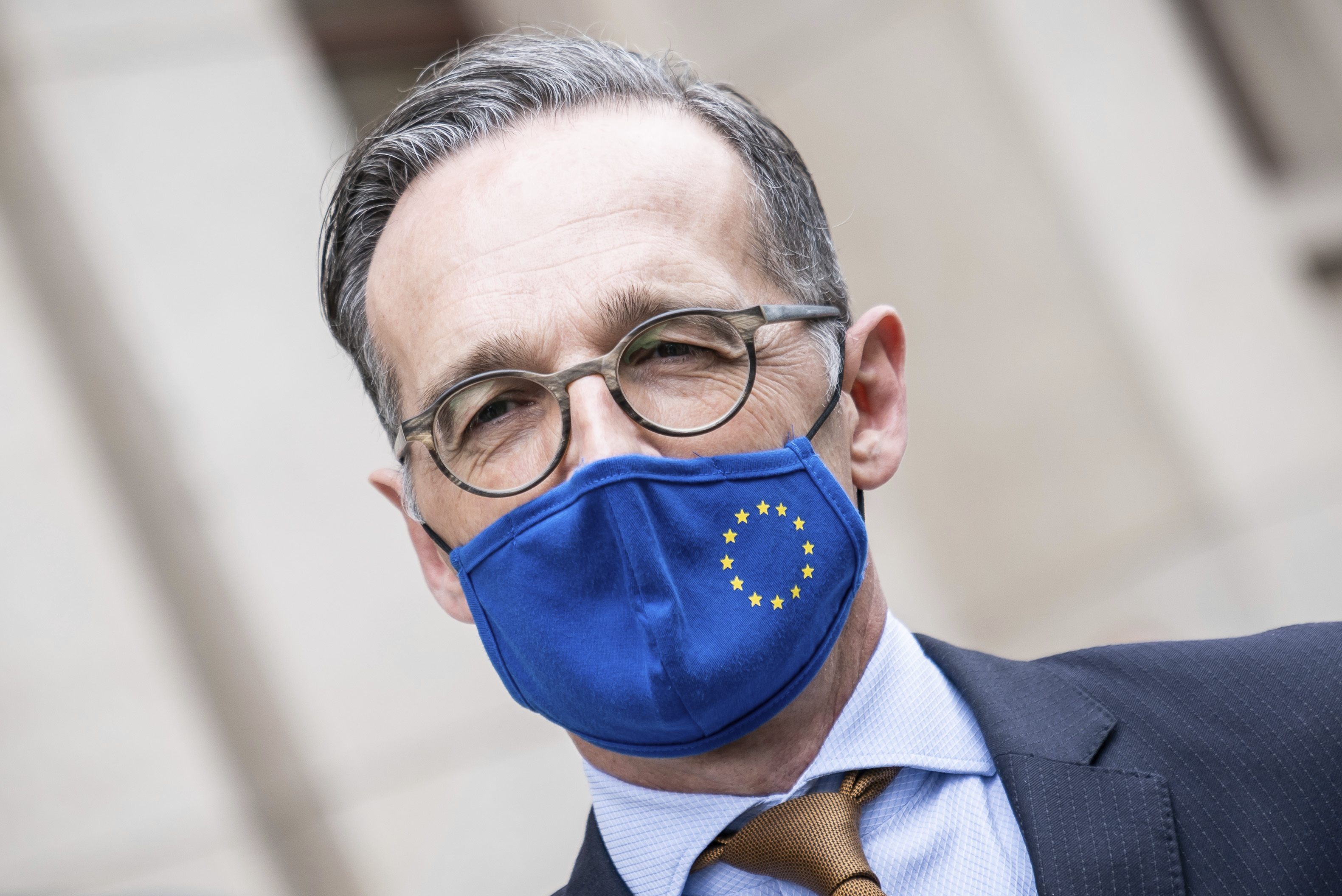 German Foreign Minister Heiko Maas, wears a face mask to protect against the coronavirus following a meeting with his Italian counterpart Di Maio at the Foreign Office in Berlin, Germany, June 5, 2020.