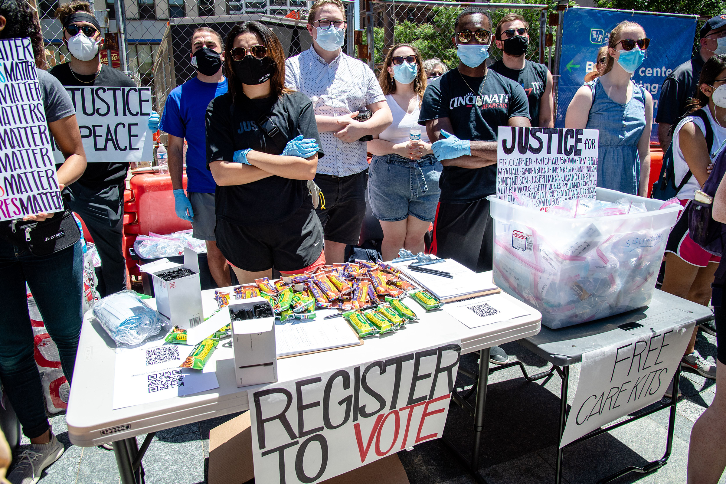 A voter registration station setup in Cincinnati following demonstrations around the world against police brutality and racial injustice sparked by the death of George Floyd, on June 7, 2020.