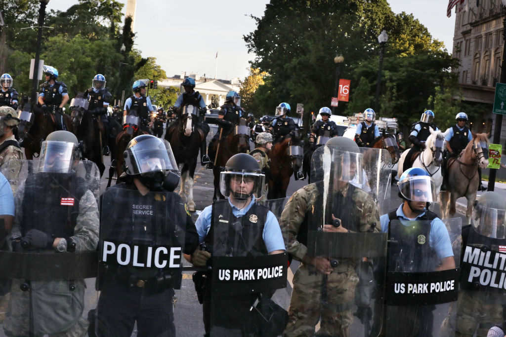 Police block 16th Street in Washington, DC on June 1, 2020. (Photo by Evelyn Hockstein for The Washington Post via Getty Images)