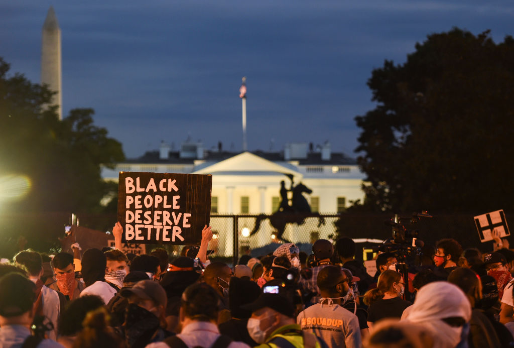 Demonstrators protests the death of George Floyd near Lafayette Square across the White House on June 2, 2020 in Washington, D.C.